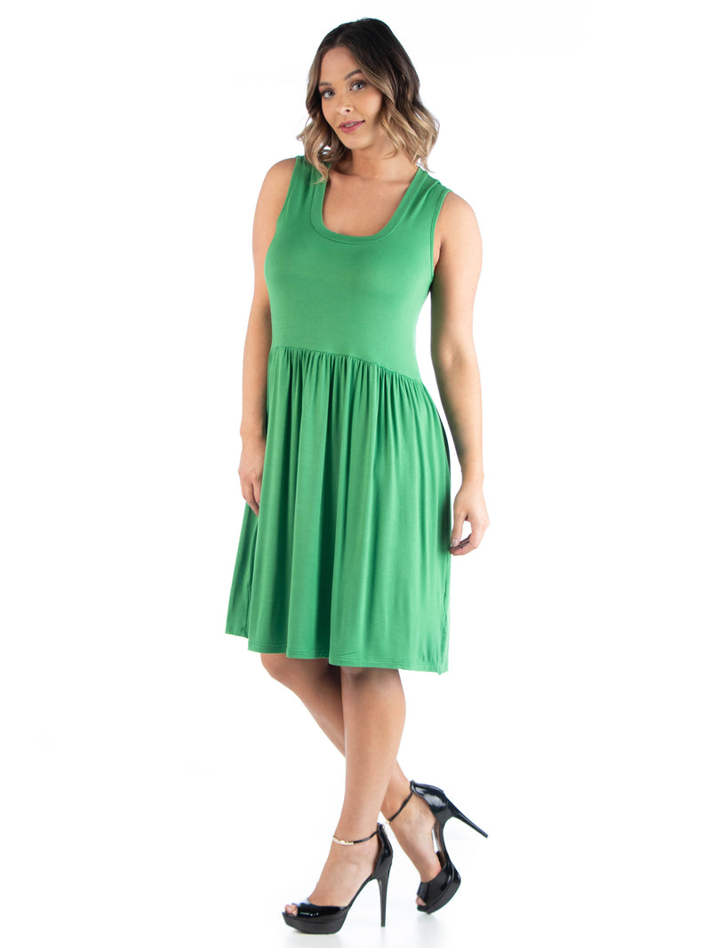 Sleeveless Pleated Plus Size Fit and Flare Dress