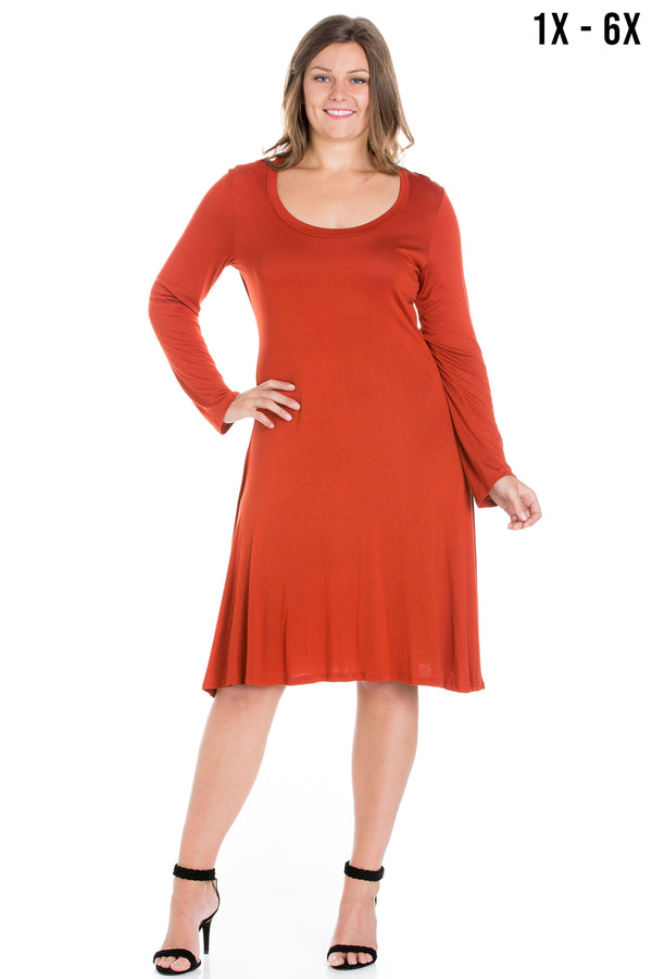 Classic Long Sleeve Plus Size Flared Mini Dress