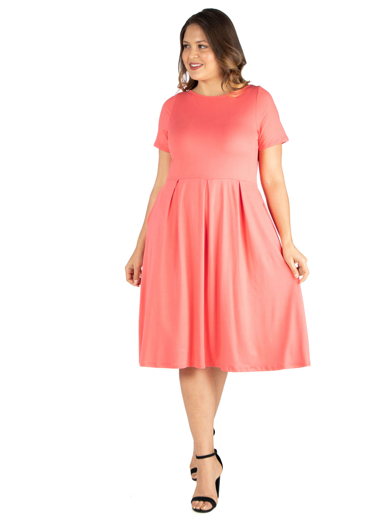 Short Sleeve Plus Size  Midi Skater Dress With Pockets