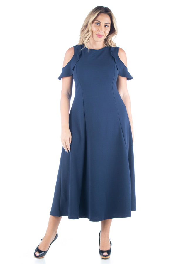 Ruffle Cold Shoulder A Line Plus Size Maxi Dress