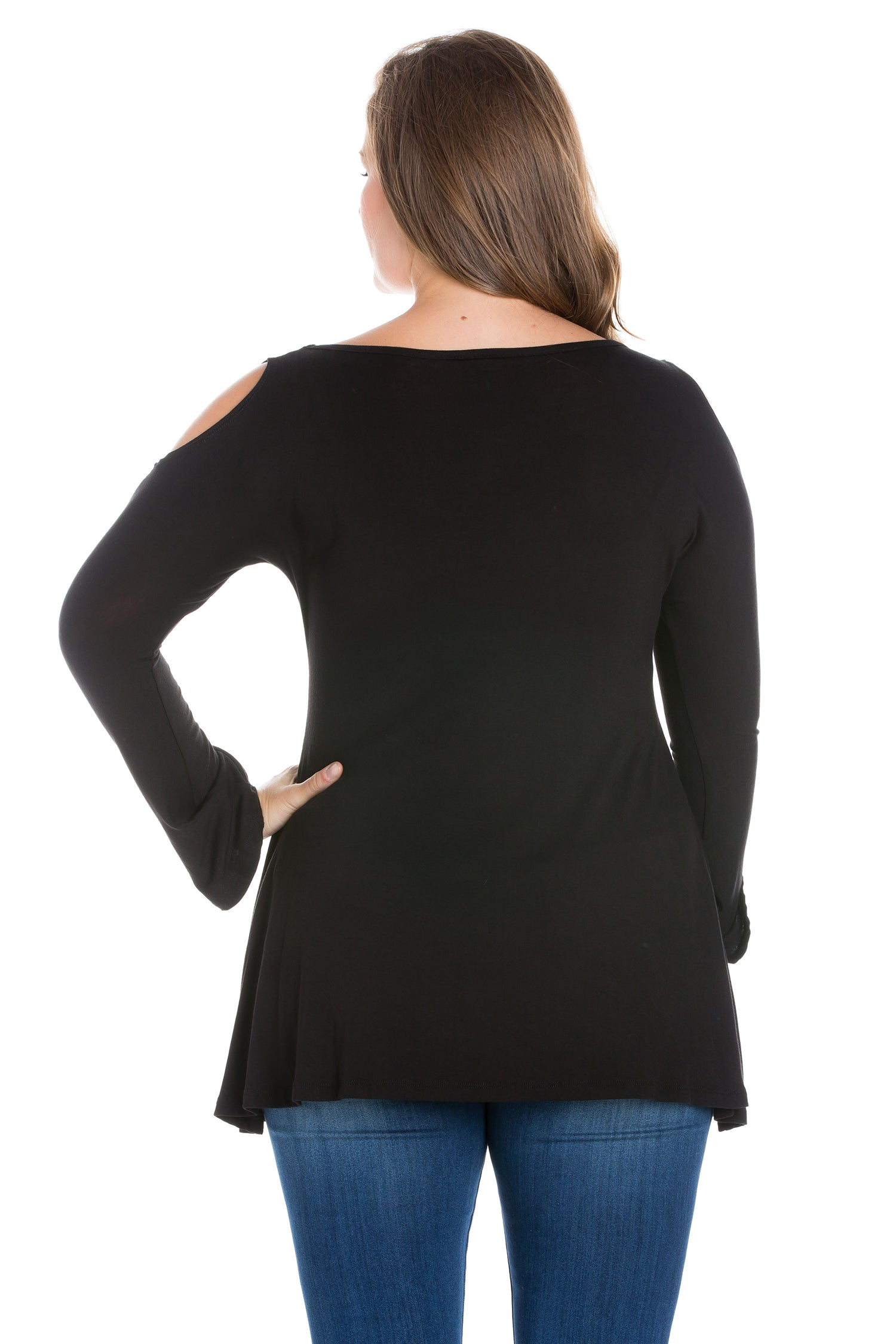 24seven Comfort Apparel Long Sleeve Plus Size Criss Cross Cold Shoulder Top-TOPS-24Seven Comfort Apparel-BLACK-1X-24/7 Comfort Apparel