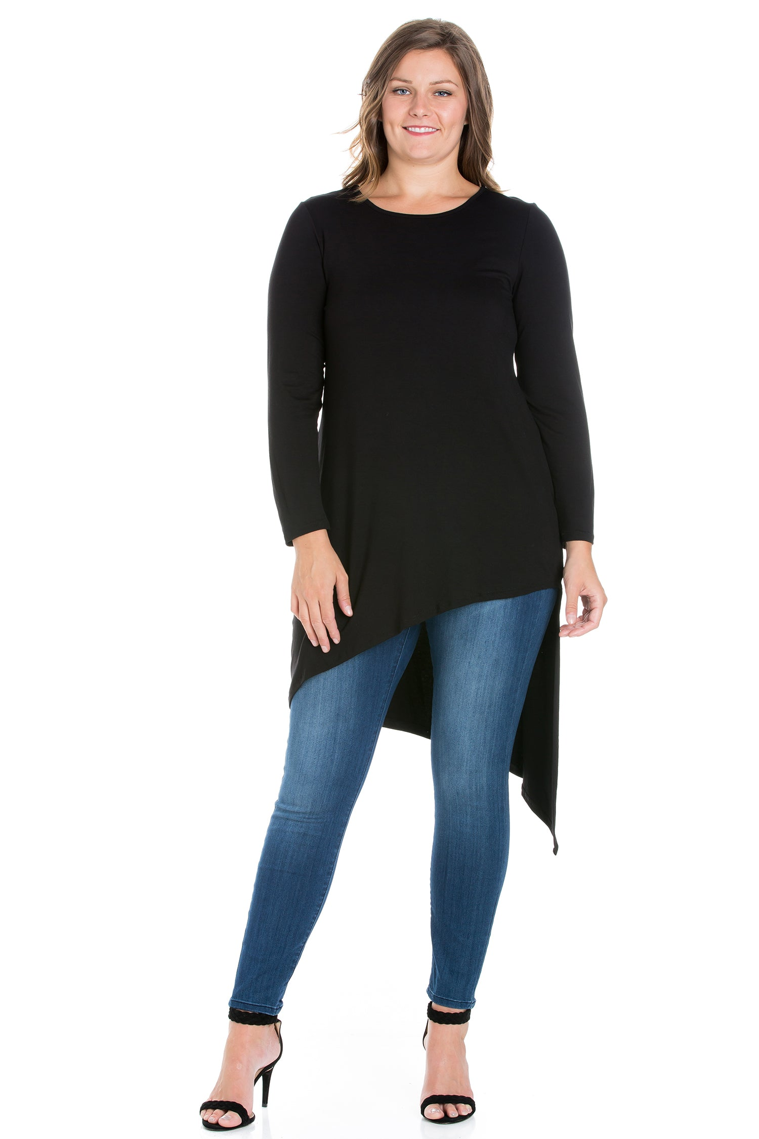 24seven Comfort Apparel Long Sleeve Knee Length Asymmetrical Plus Size Tunic Top-TOPS-24Seven Comfort Apparel-BLACK-1X-24/7 Comfort Apparel