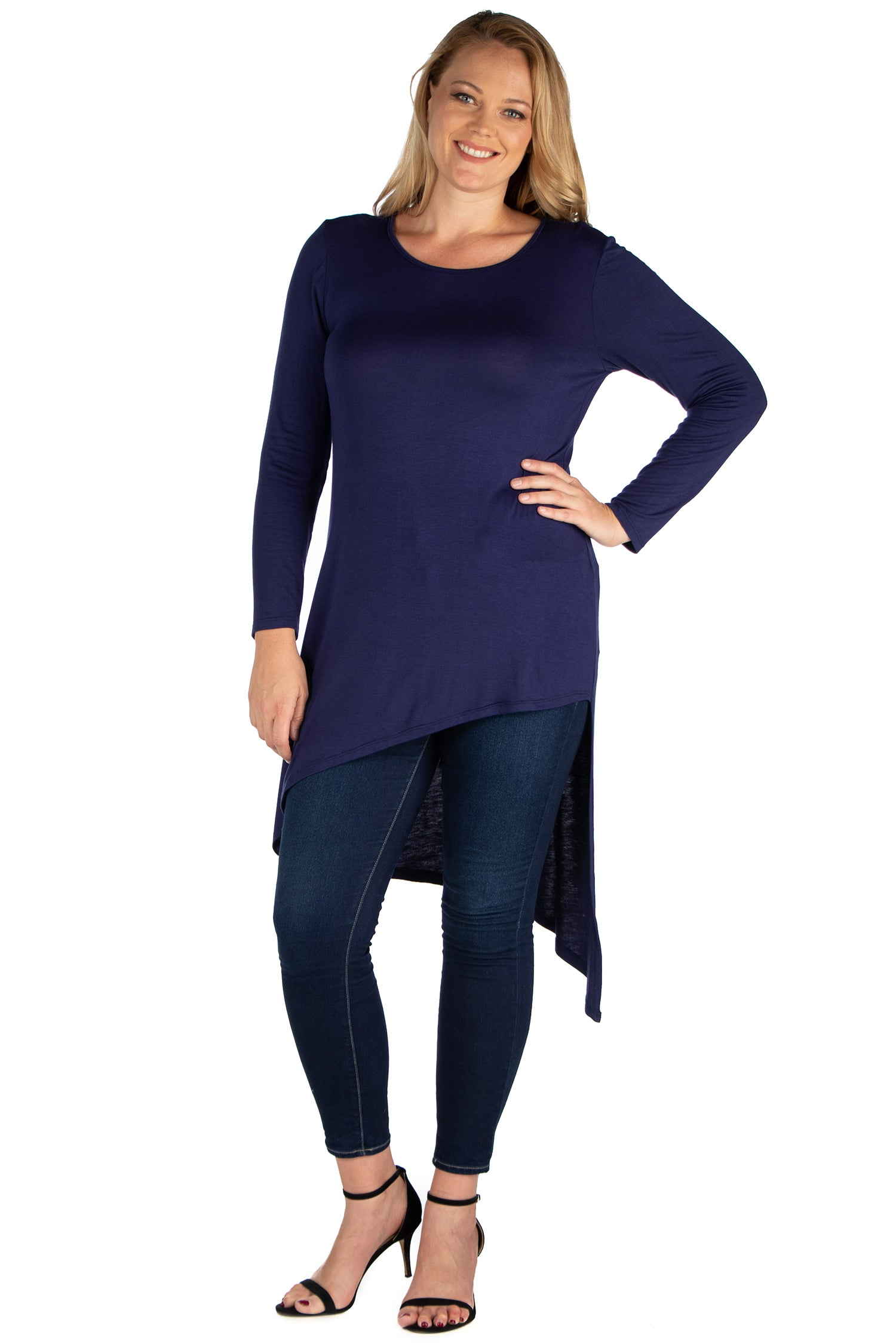 24seven Comfort Apparel Long Sleeve Knee Length Asymmetrical Plus Size Tunic Top-TOPS-24Seven Comfort Apparel-NAVY-1X-24/7 Comfort Apparel