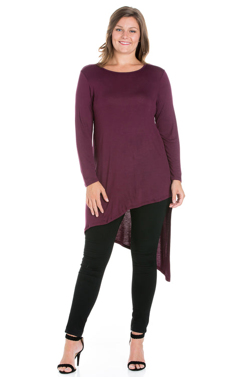 24seven Comfort Apparel Long Sleeve Knee Length Asymmetrical Plus Size Tunic Top-TOPS-24Seven Comfort Apparel-PLUM-1X-24/7 Comfort Apparel