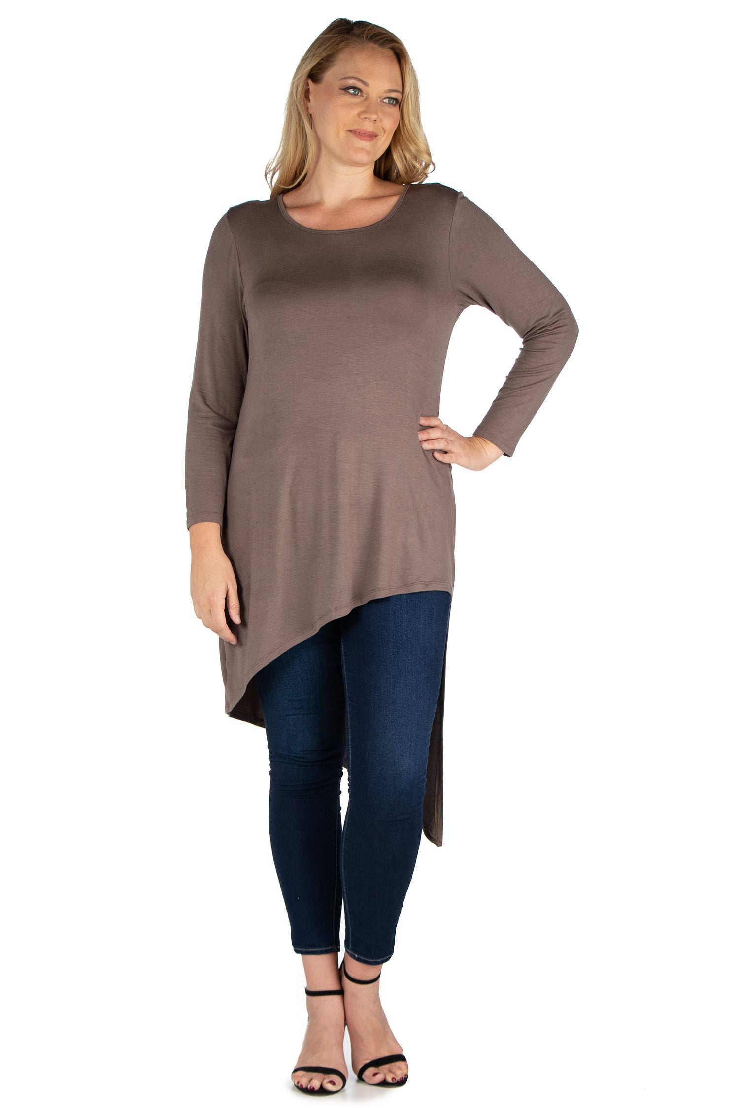 24seven Comfort Apparel Long Sleeve Knee Length Asymmetrical Plus Size Tunic Top-TOPS-24Seven Comfort Apparel-TAUPE-1X-24/7 Comfort Apparel