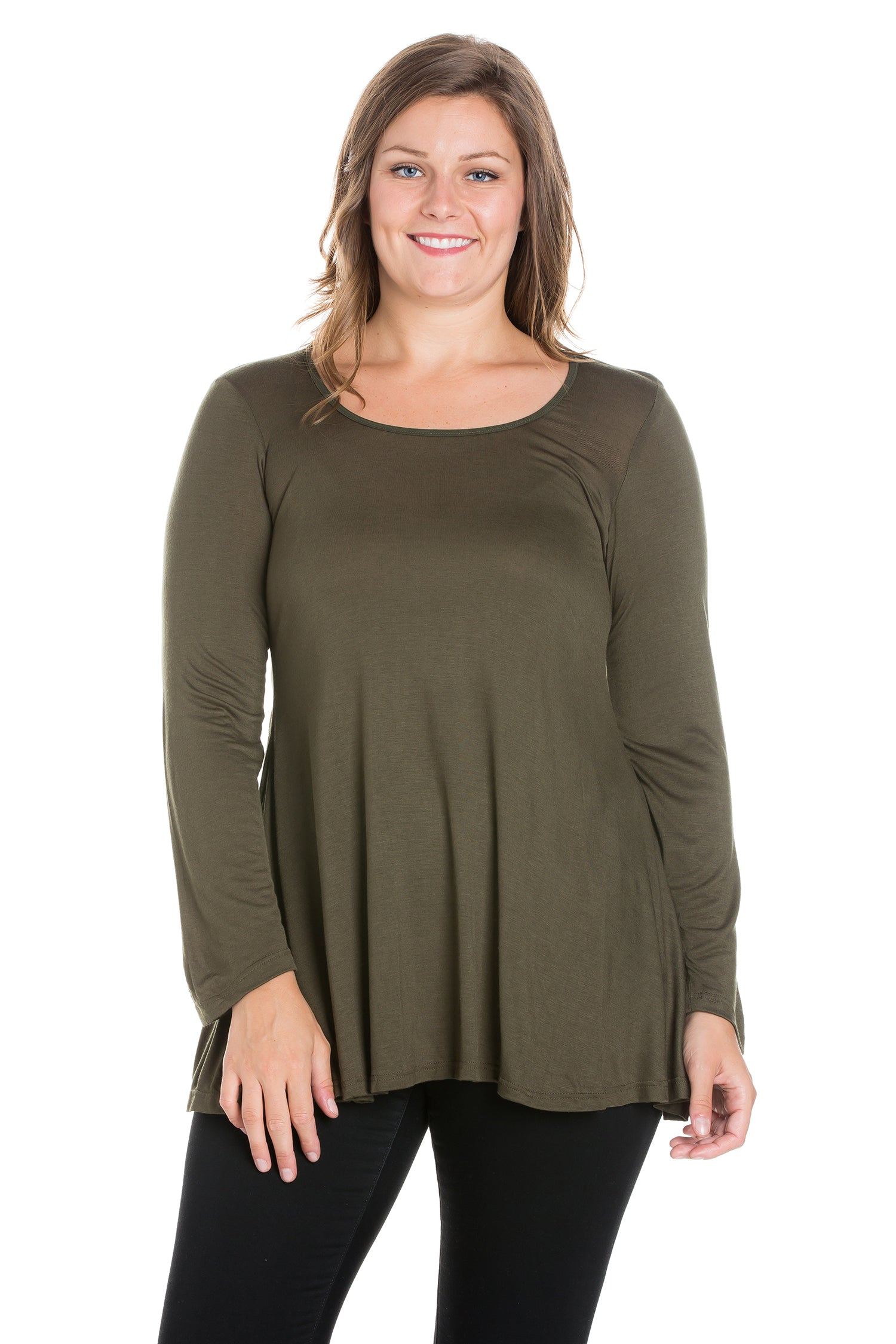 24seven Comfort Apparel Long Sleeve Swing Plus Size Tunic Top-TOPS-24Seven Comfort Apparel-ARMY-1X-24/7 Comfort Apparel