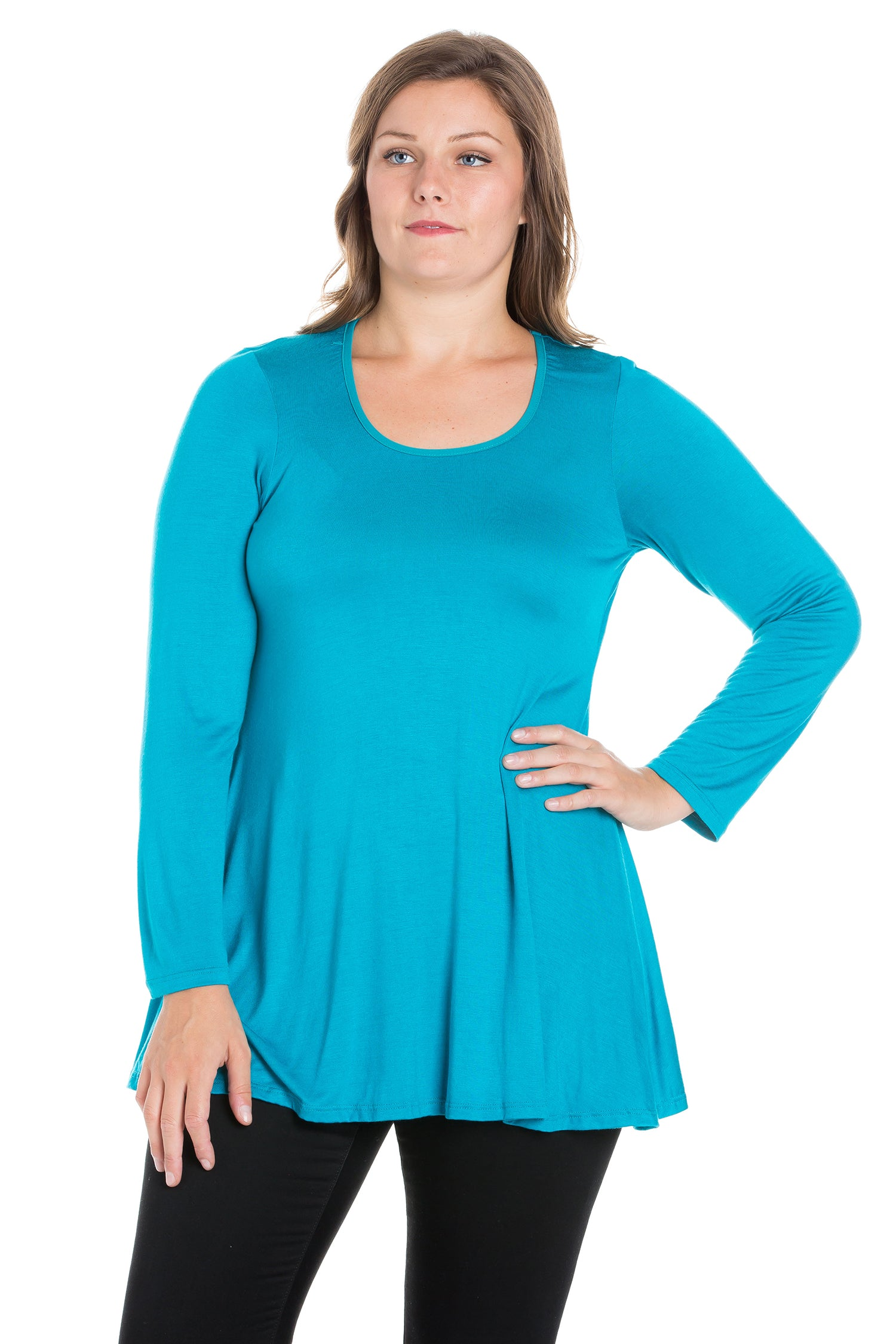 24seven Comfort Apparel Long Sleeve Swing Plus Size Tunic Top-TOPS-24Seven Comfort Apparel-JADE-1X-24/7 Comfort Apparel