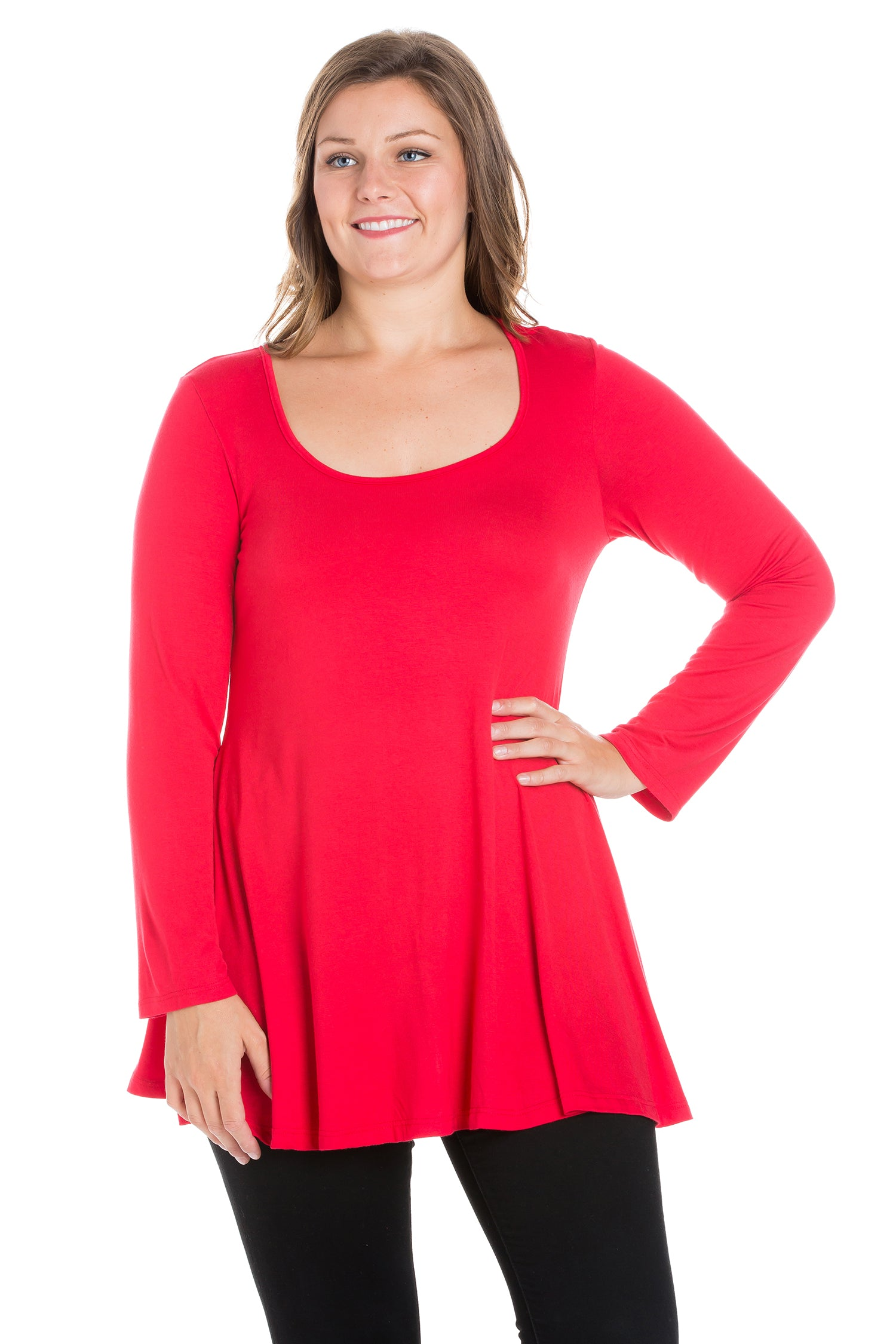 24seven Comfort Apparel Long Sleeve Swing Plus Size Tunic Top-TOPS-24Seven Comfort Apparel-RED-1X-24/7 Comfort Apparel