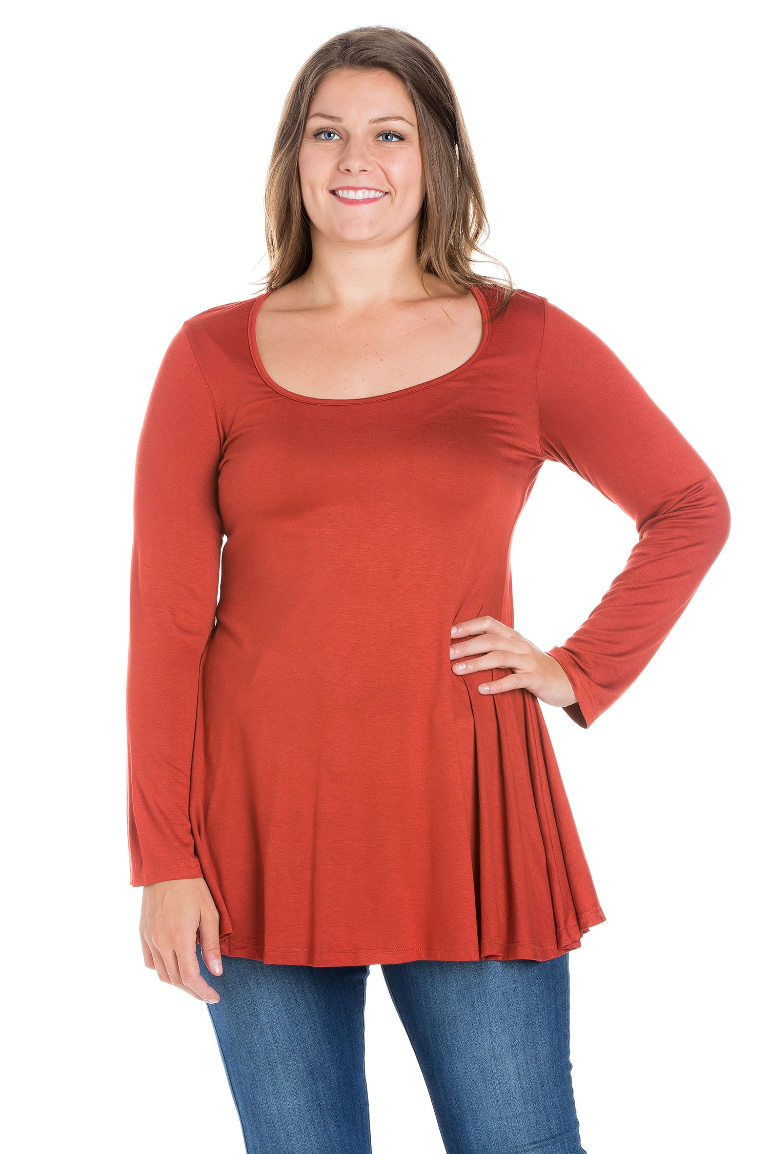 24seven Comfort Apparel Long Sleeve Swing Plus Size Tunic Top-TOPS-24Seven Comfort Apparel-RUST-1X-24/7 Comfort Apparel
