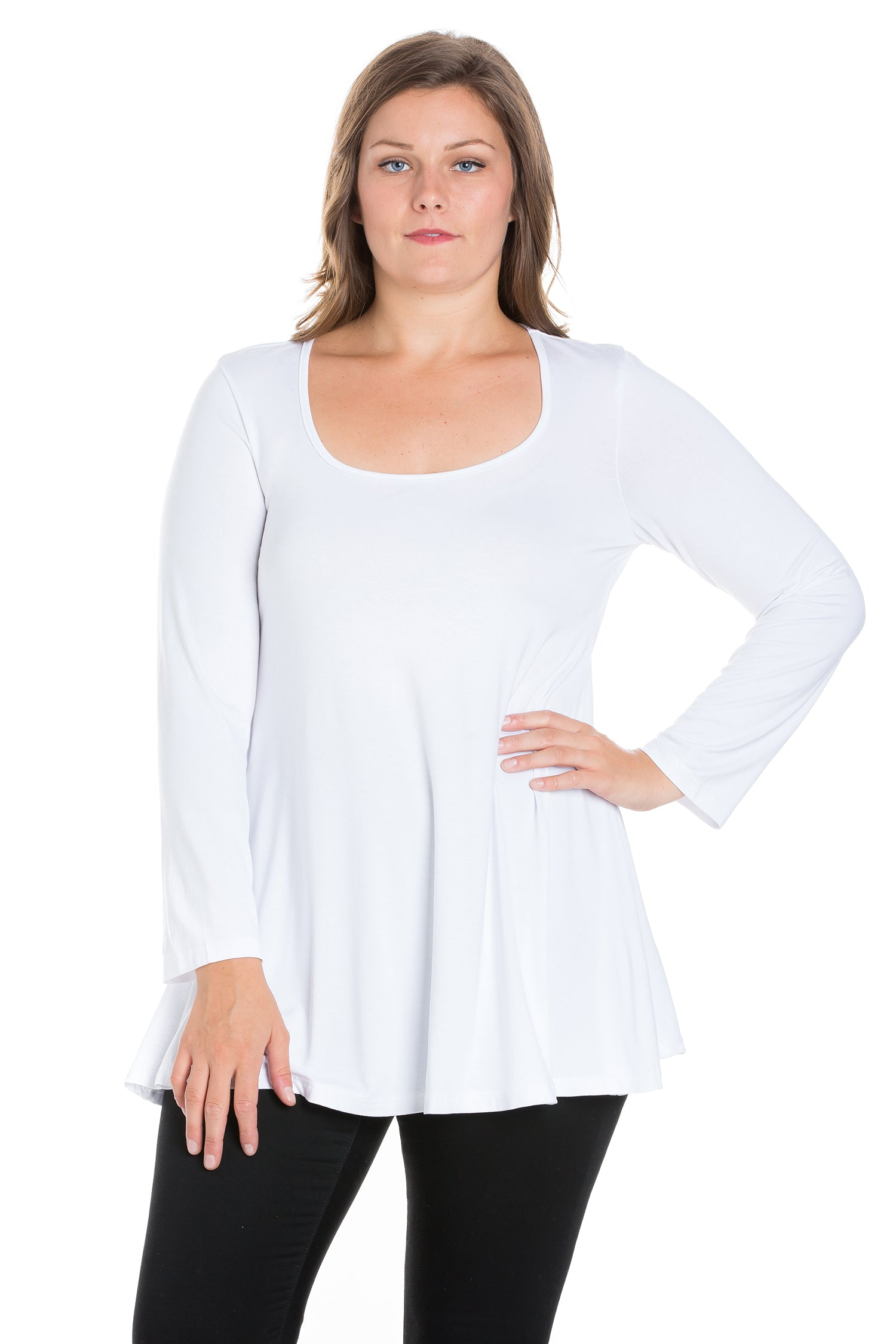 24seven Comfort Apparel Long Sleeve Swing Plus Size Tunic Top-TOPS-24Seven Comfort Apparel-WHITE-1X-24/7 Comfort Apparel