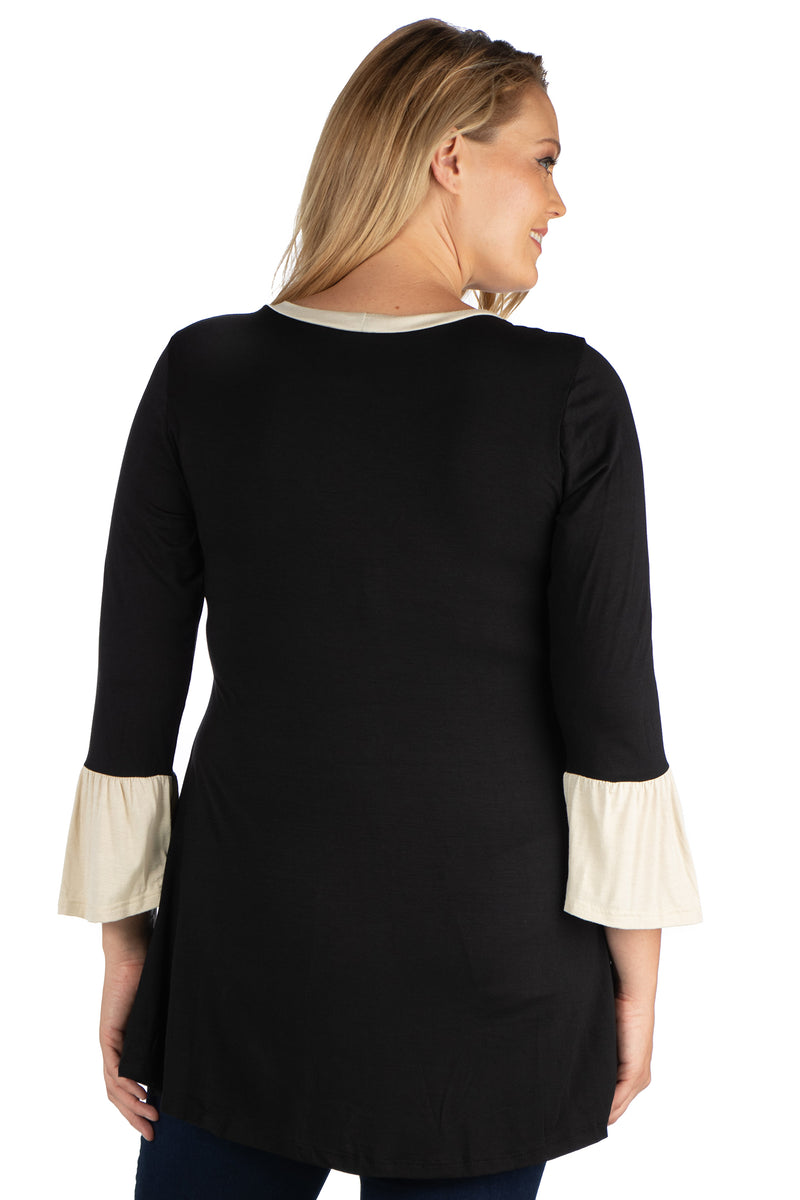 Black and Beige Bell Sleeve Hi Low Plus Size Tunic Top