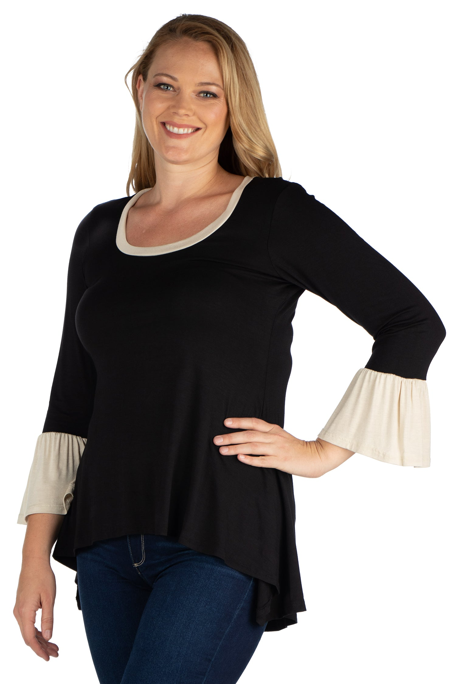 24seven Comfort Apparel Black and Beige Bell Sleeve Hi Low Plus Size Tunic Top