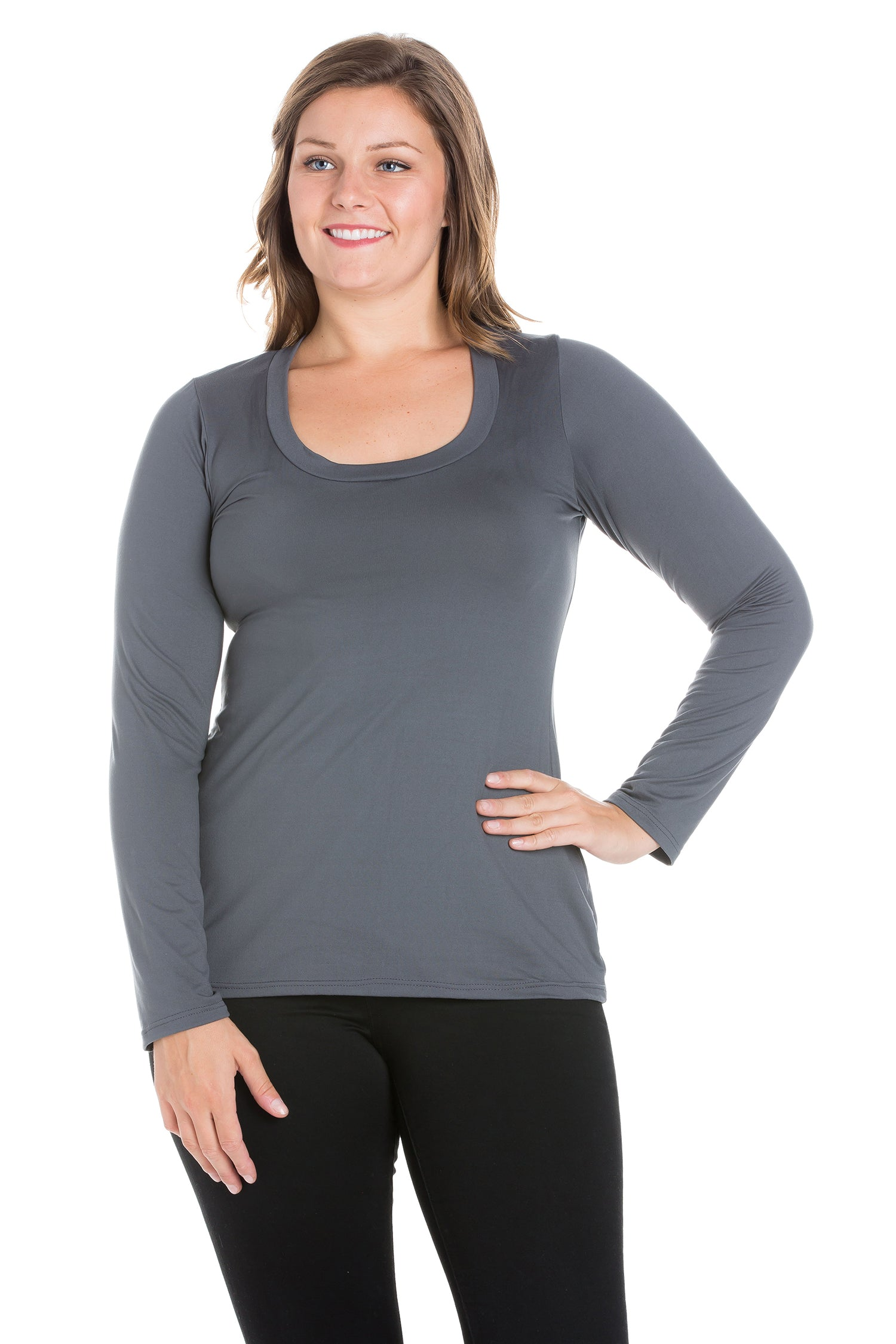 24seven Comfort Apparel Solid Long Sleeve Scoop Neck Plus Size Womens Tee-TOPS-24Seven Comfort Apparel-CHARCOAL-1X-24/7 Comfort Apparel