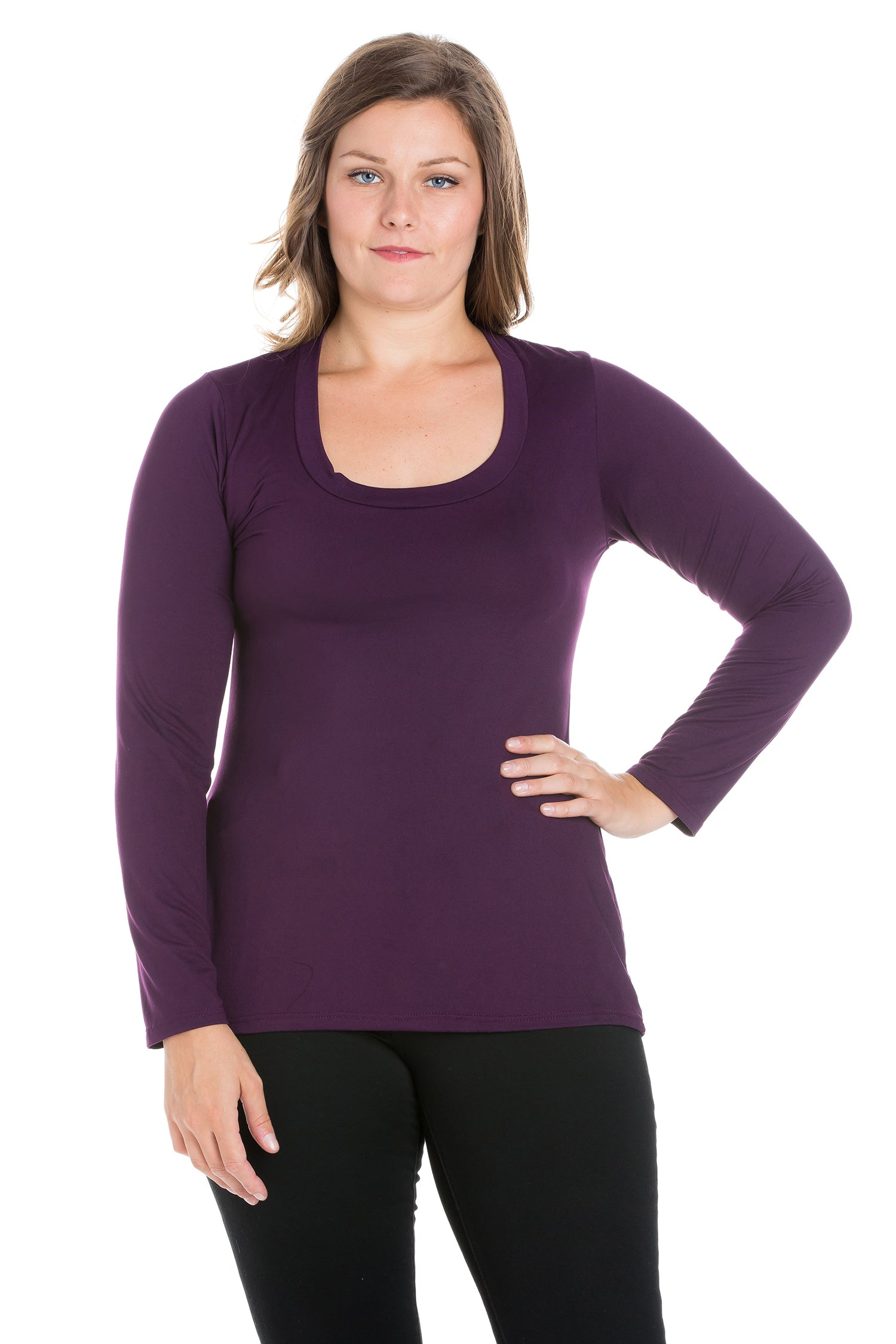24seven Comfort Apparel Solid Long Sleeve Scoop Neck Plus Size Womens Tee-TOPS-24Seven Comfort Apparel-PURPLE-1X-24/7 Comfort Apparel