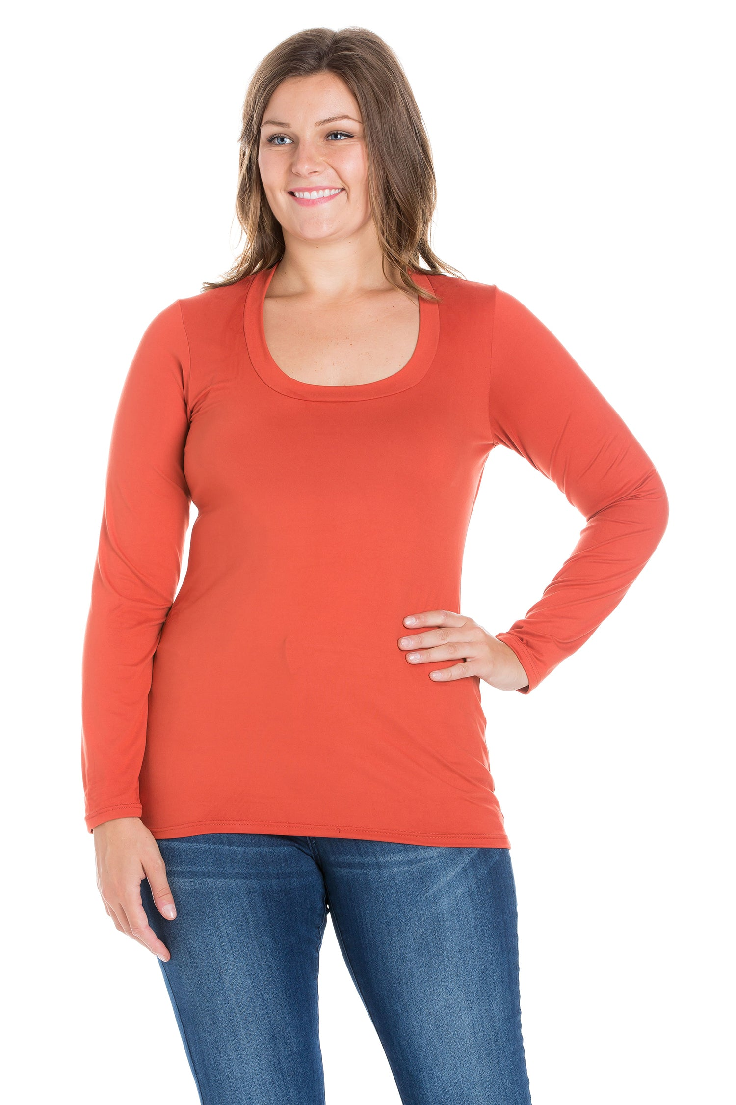 24seven Comfort Apparel Solid Long Sleeve Scoop Neck Plus Size Womens Tee-TOPS-24Seven Comfort Apparel-RUST-1X-24/7 Comfort Apparel