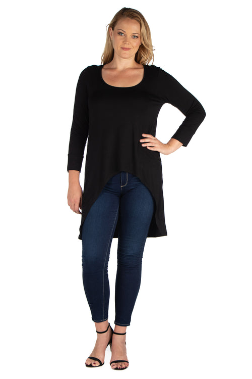 24seven Comfort Apparel Long Sleeve Hi Low Plus Size Tunic Top-TOPS-24Seven Comfort Apparel-BLACK-1X-24/7 Comfort Apparel