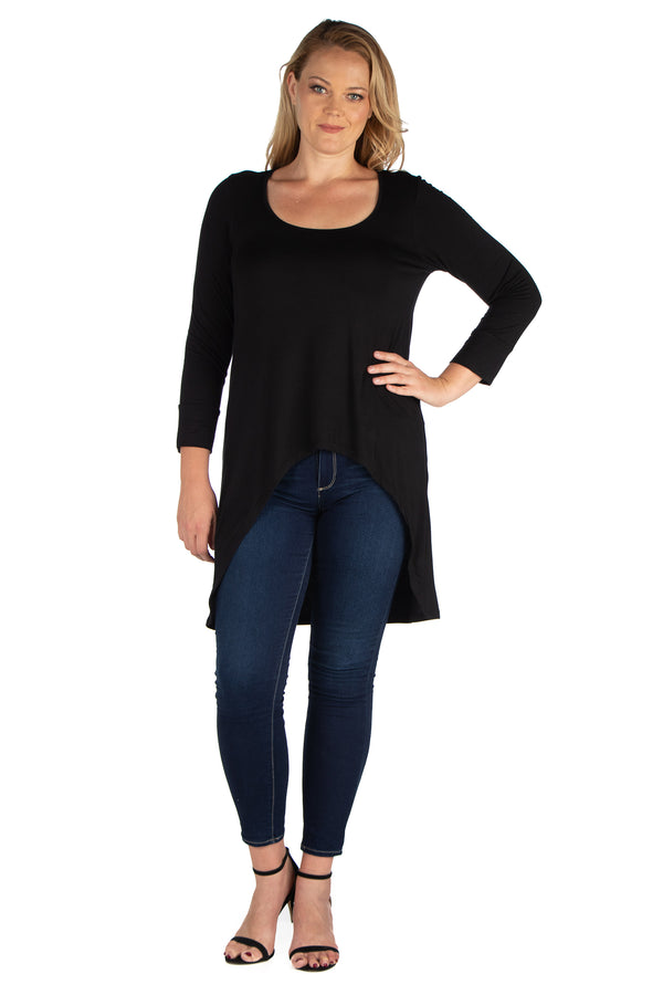 Long Sleeve Hi Low Plus Size Tunic Top