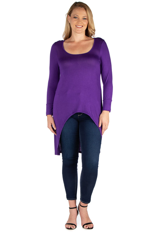 24seven Comfort Apparel Long Sleeve Hi Low Plus Size Tunic Top-TOPS-24Seven Comfort Apparel-PURPLE-1X-24/7 Comfort Apparel
