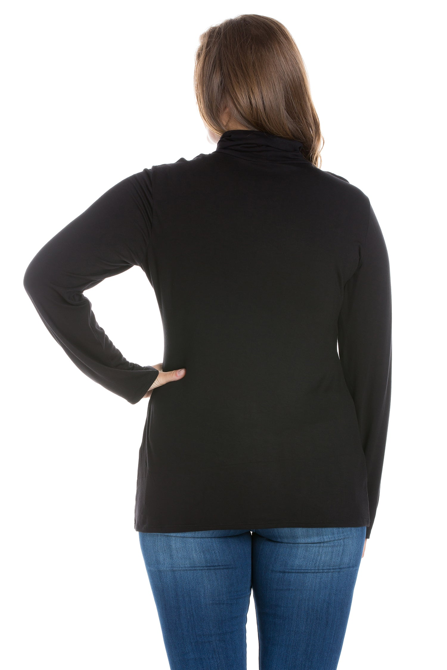 24seven Comfort Apparel Classic Womens Plus Size Long Sleeve Turtleneck