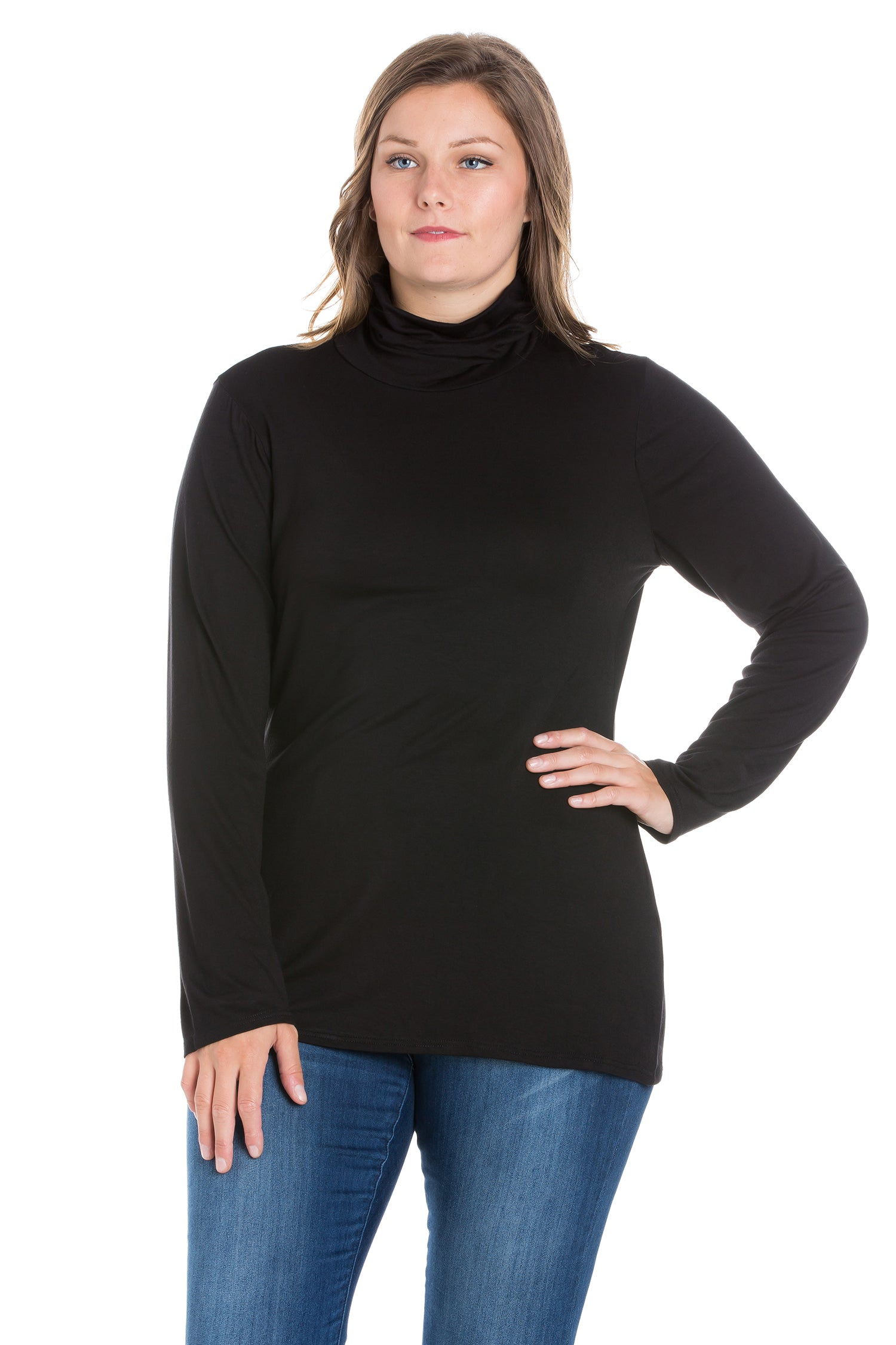 24seven Comfort Apparel Classic Womens Plus Size Long Sleeve Turtleneck-TOPS-24Seven Comfort Apparel-BLACK-1X-24/7 Comfort Apparel