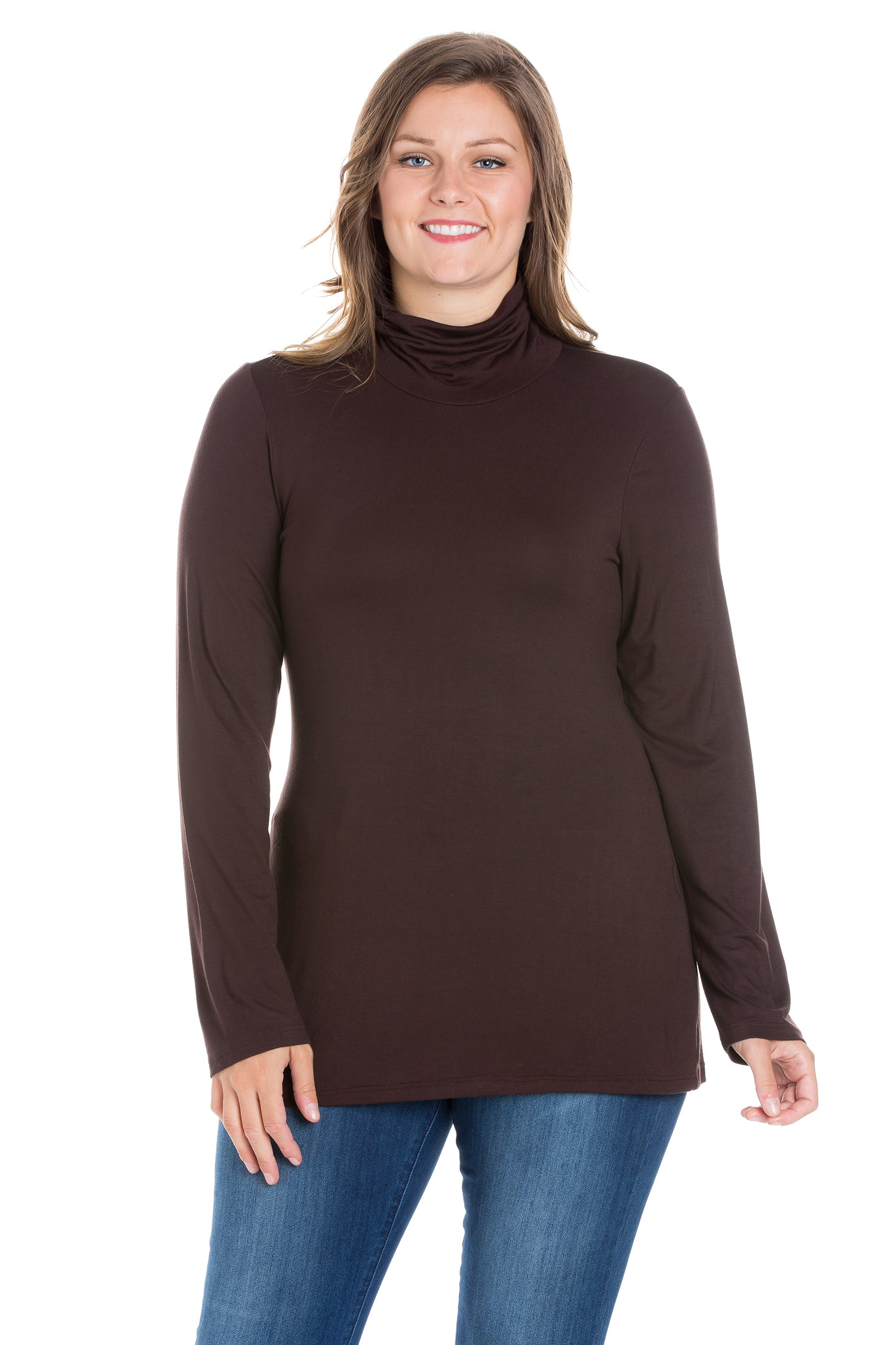 24seven Comfort Apparel Classic Womens Plus Size Long Sleeve Turtleneck-TOPS-24Seven Comfort Apparel-BROWN-1X-24/7 Comfort Apparel