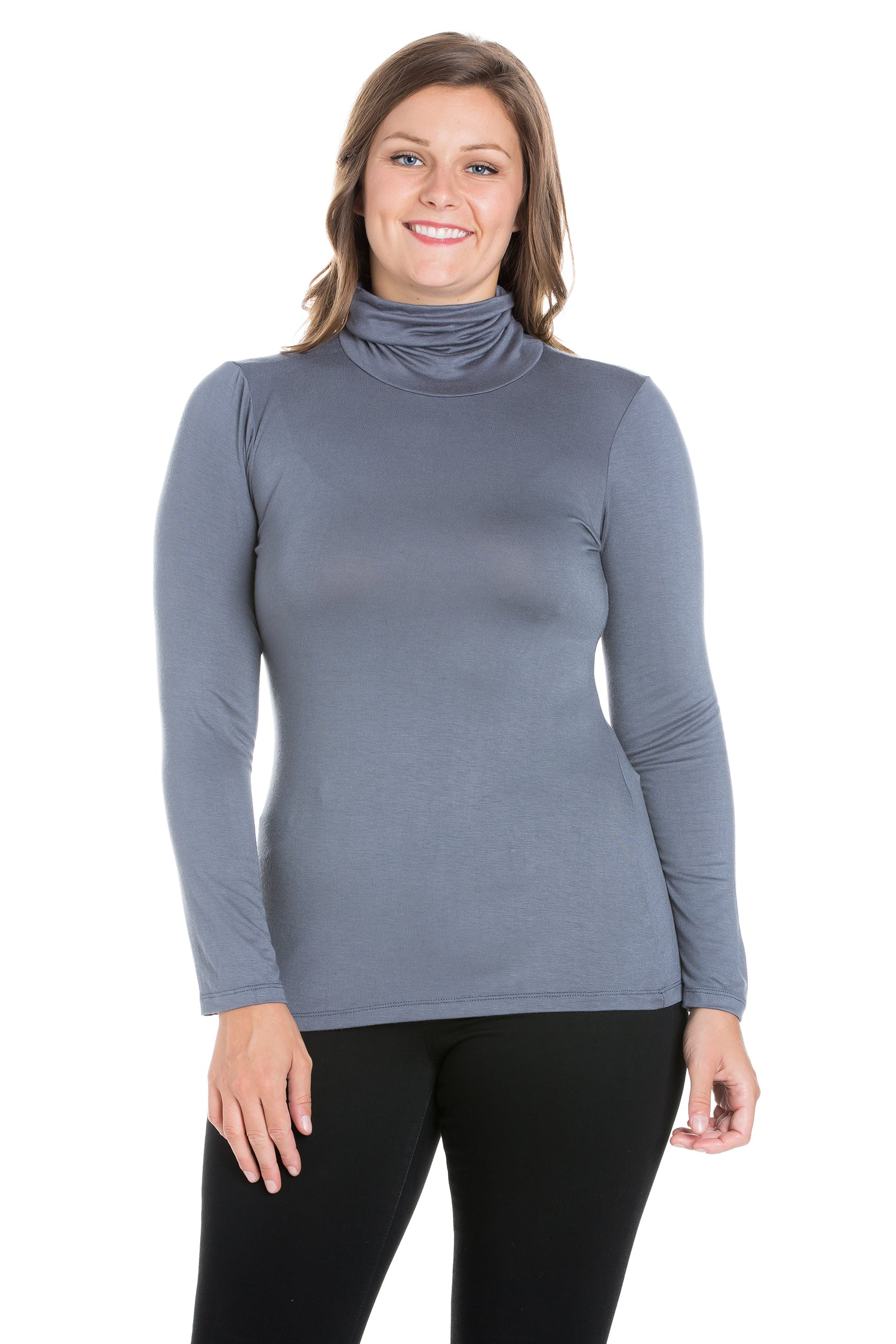 24seven Comfort Apparel Classic Womens Plus Size Long Sleeve Turtleneck-TOPS-24Seven Comfort Apparel-CHARCOAL-1X-24/7 Comfort Apparel