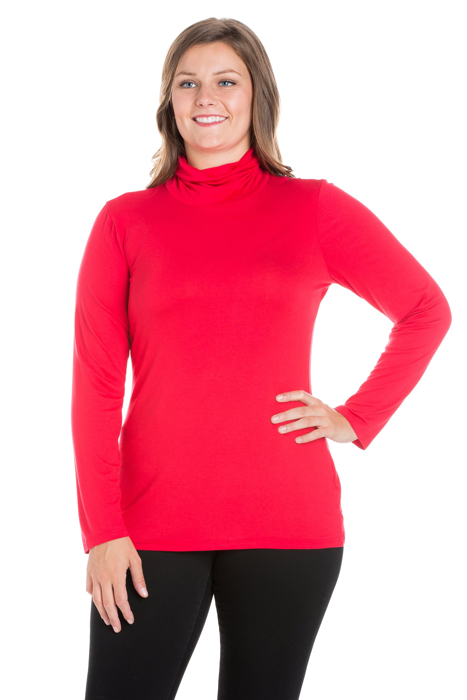 24seven Comfort Apparel Classic Womens Plus Size Long Sleeve Turtleneck-TOPS-24Seven Comfort Apparel-RED-1X-24/7 Comfort Apparel