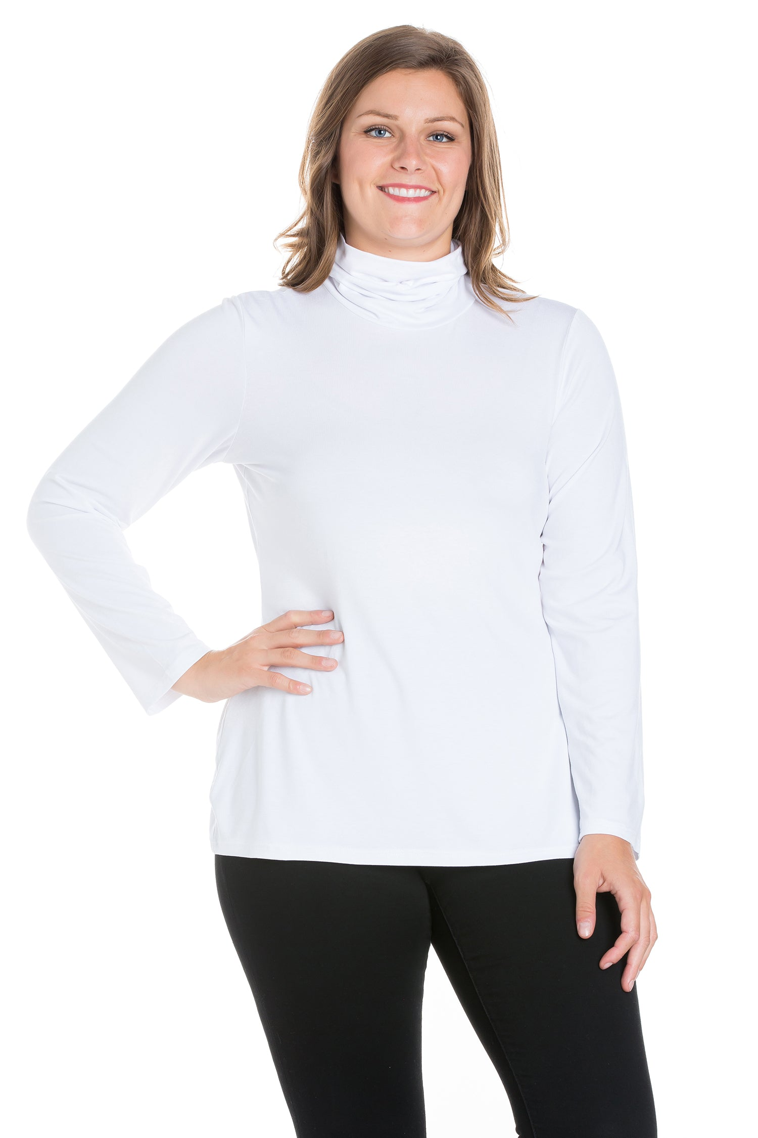 24seven Comfort Apparel Classic Womens Plus Size Long Sleeve Turtleneck-TOPS-24Seven Comfort Apparel-WHITE-1X-24/7 Comfort Apparel