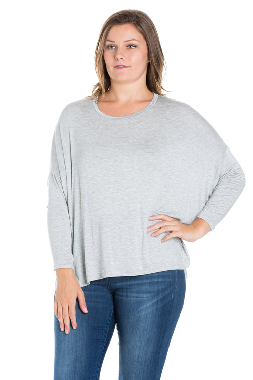 24seven Comfort Apparel Oversized Long Sleeve Plus Size Dolman Top-TOPS-24Seven Comfort Apparel-HEATHER-1X-24/7 Comfort Apparel