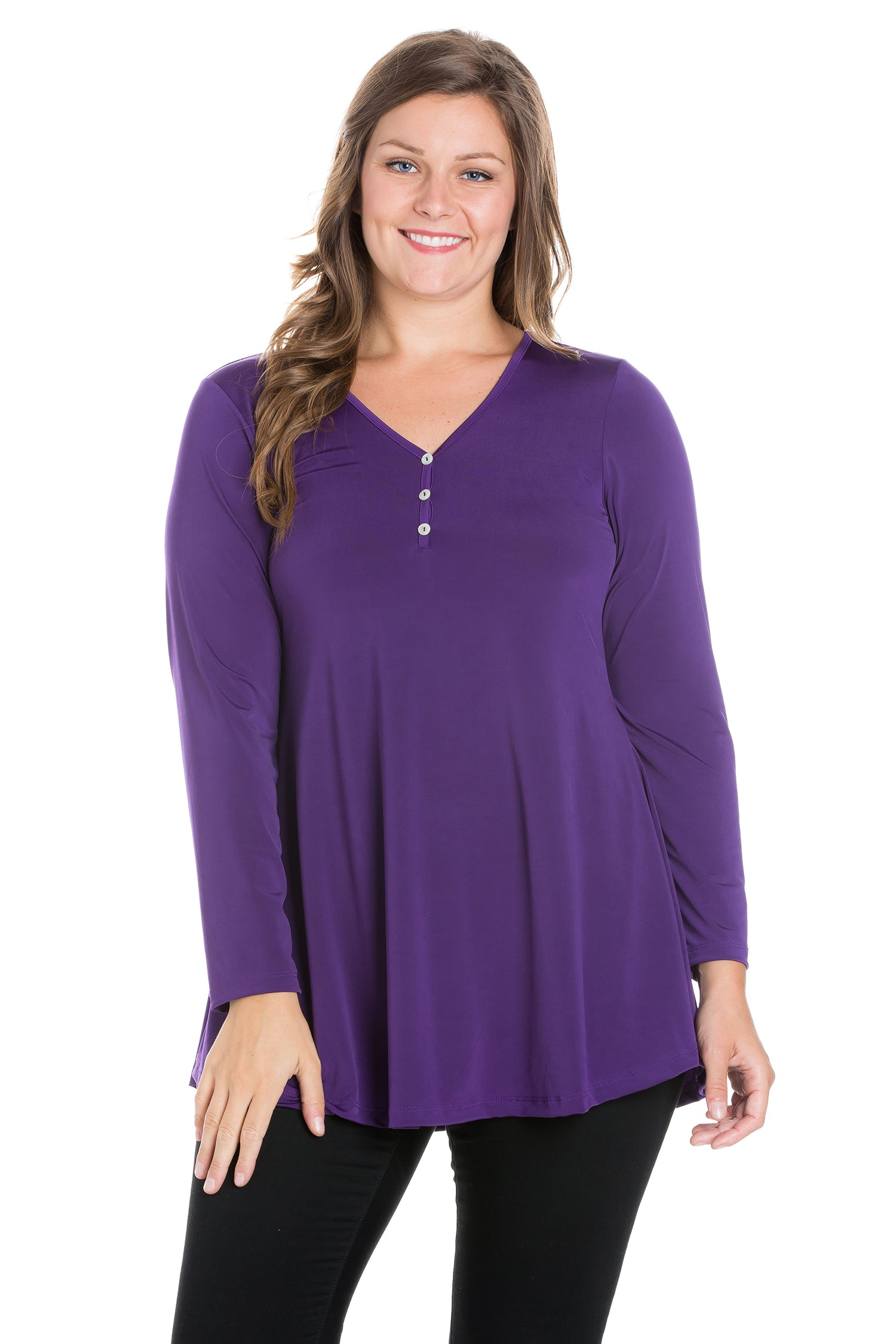 24seven Comfort Apparel Flared Long Sleeve Plus Size Henley Tunic Top-TOPS-24Seven Comfort Apparel-PURPLE-1X-24/7 Comfort Apparel