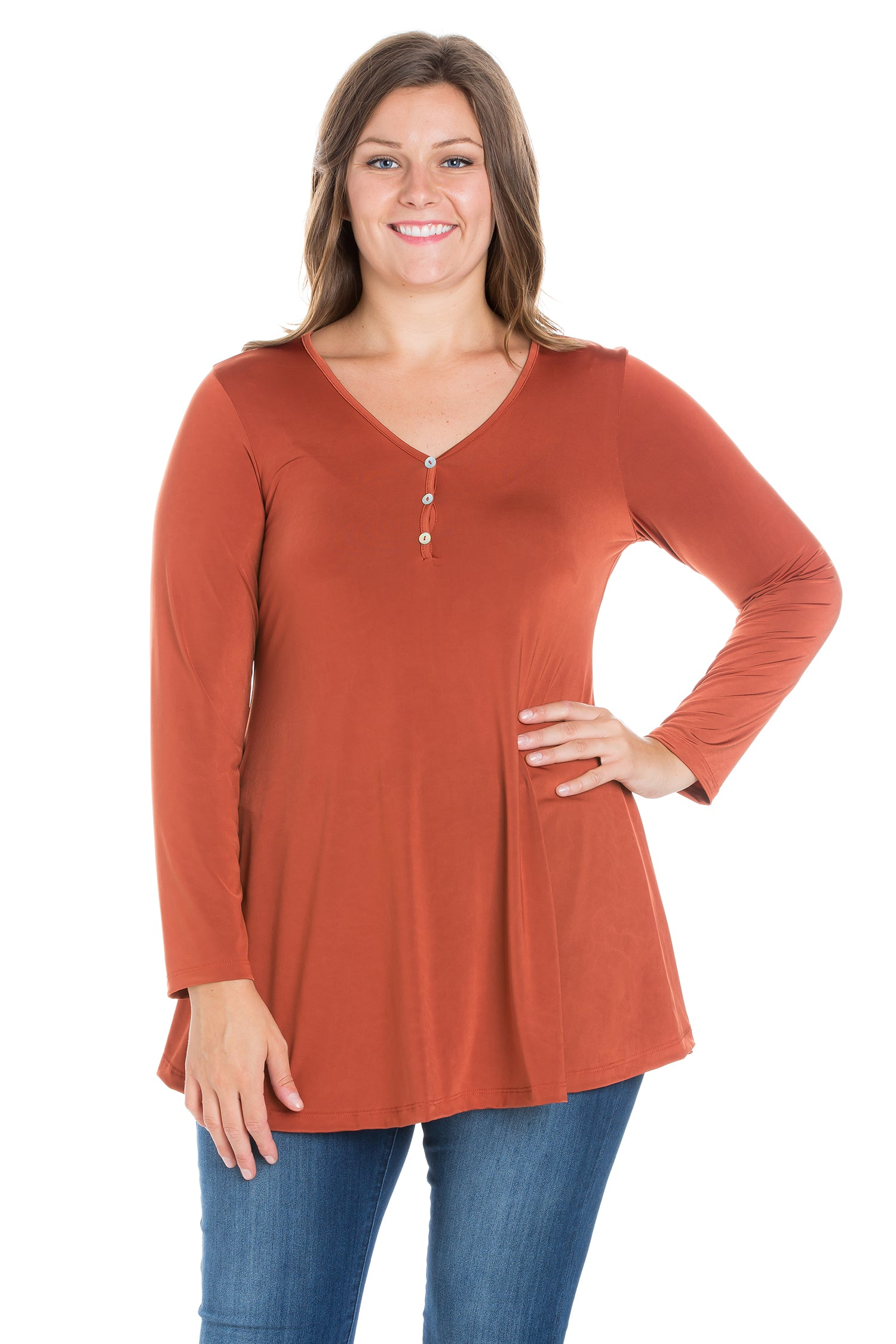 24seven Comfort Apparel Flared Long Sleeve Plus Size Henley Tunic Top-TOPS-24Seven Comfort Apparel-RUST-1X-24/7 Comfort Apparel