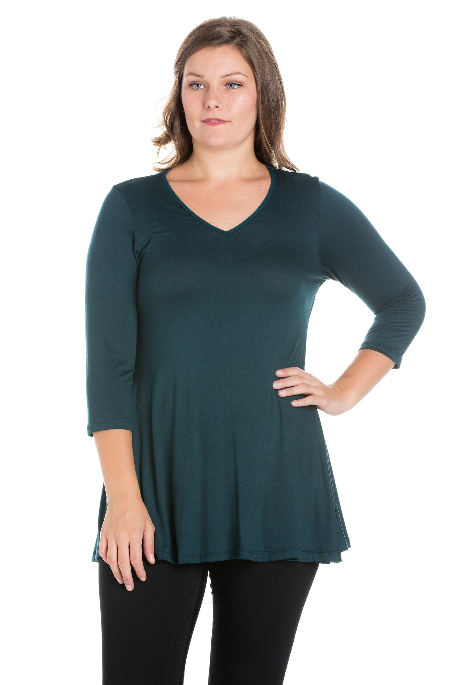 24seven Comfort Apparel Three Quarter Sleeve V-Neck Plus Size Tunic Top