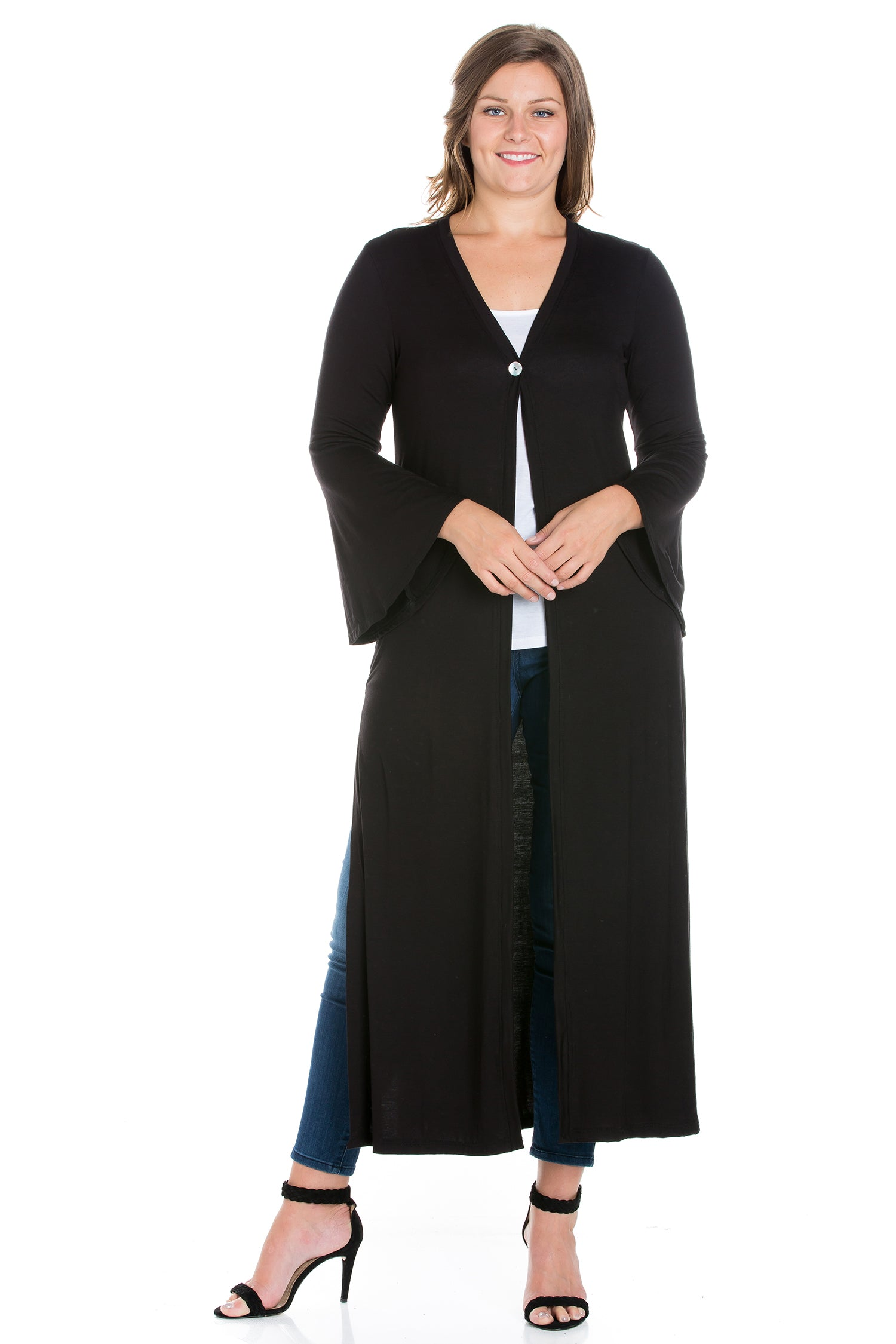 24seven Comfort Apparel Bell Sleeve Maxi Length Plus Size Cardigan Duster-SHRUGS-24Seven Comfort Apparel-BLACK-1X-24/7 Comfort Apparel