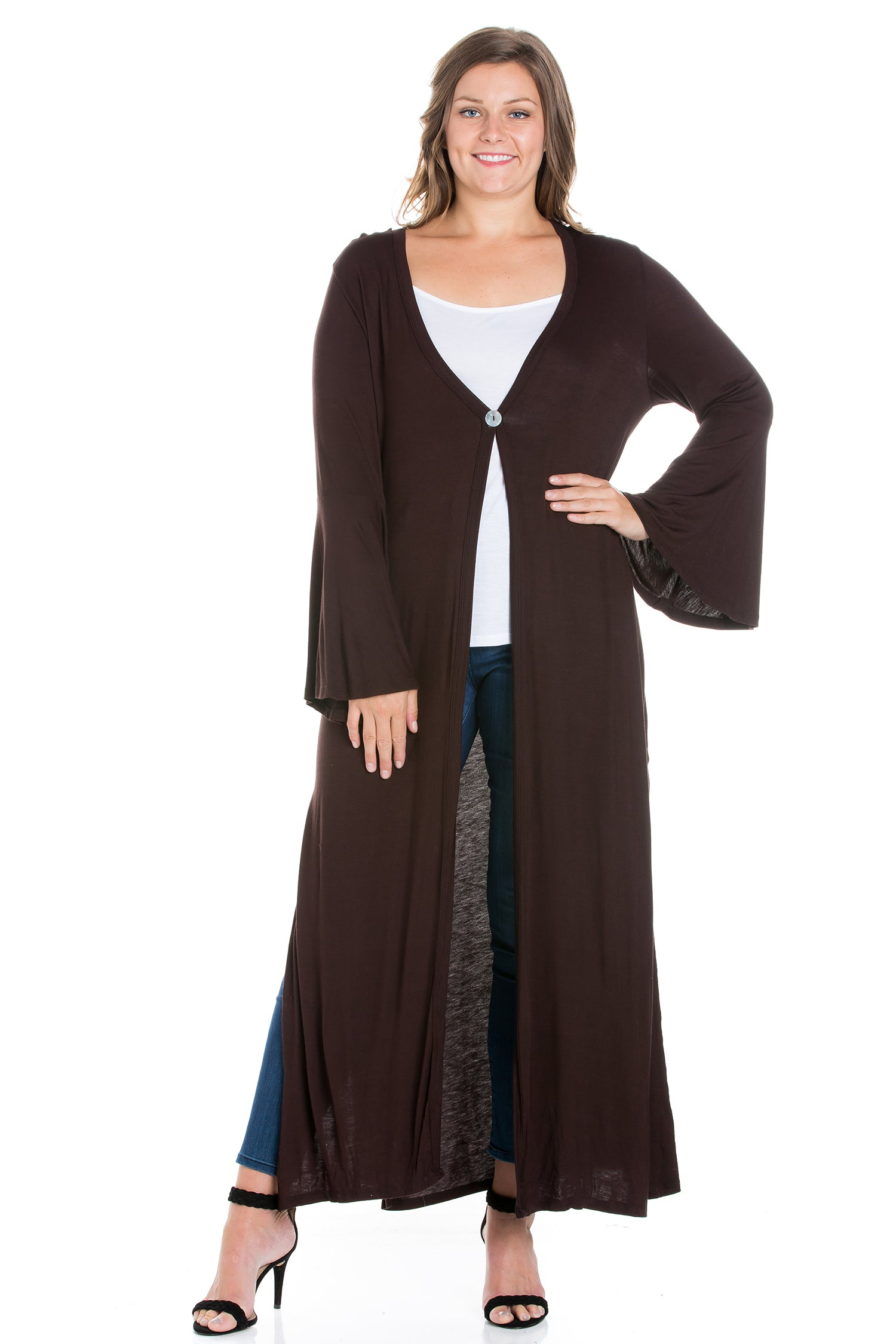 24seven Comfort Apparel Bell Sleeve Maxi Length Plus Size Cardigan Duster-SHRUGS-24Seven Comfort Apparel-BROWN-1X-24/7 Comfort Apparel