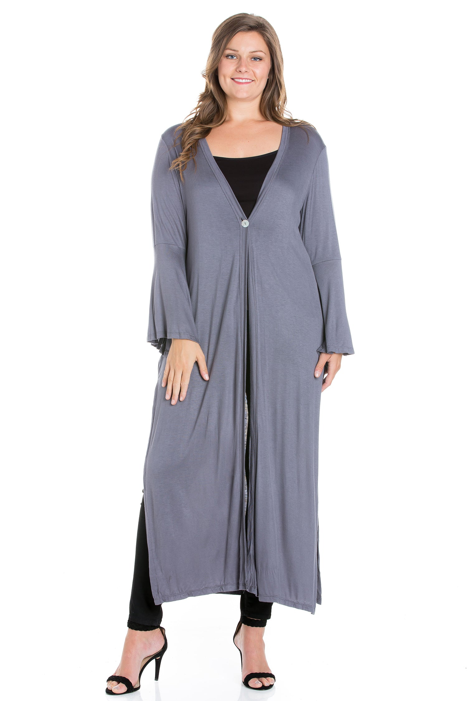 24seven Comfort Apparel Bell Sleeve Maxi Length Plus Size Cardigan Duster-SHRUGS-24Seven Comfort Apparel-CHARCOAL-1X-24/7 Comfort Apparel