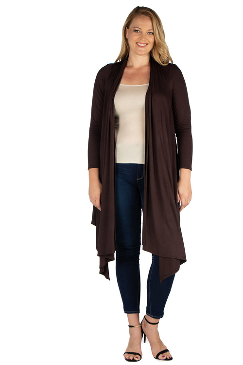 24seven Comfort Apparel Extra Long Open Front Plus Size Cardigan-SHRUGS-24Seven Comfort Apparel-BROWN-1X-24/7 Comfort Apparel
