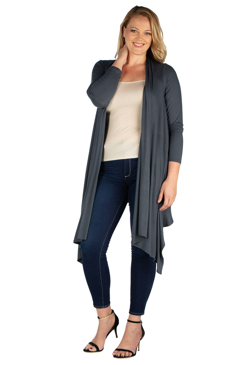 Extra Long Open Front Plus Size Cardigan