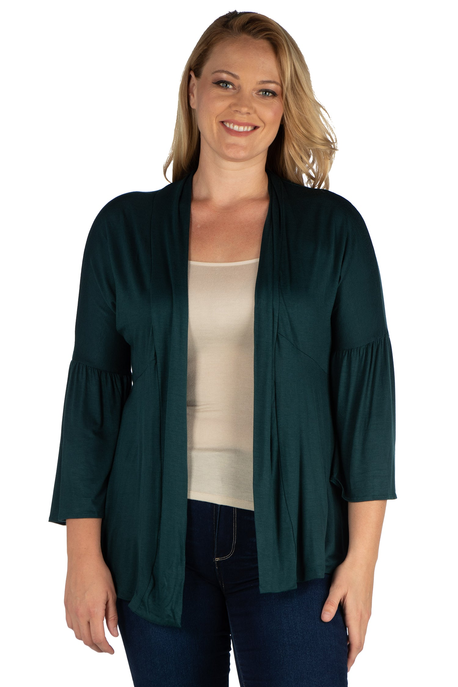 24seven Comfort Apparel Bell Sleeve Flared Open Front Plus Size Cardigan