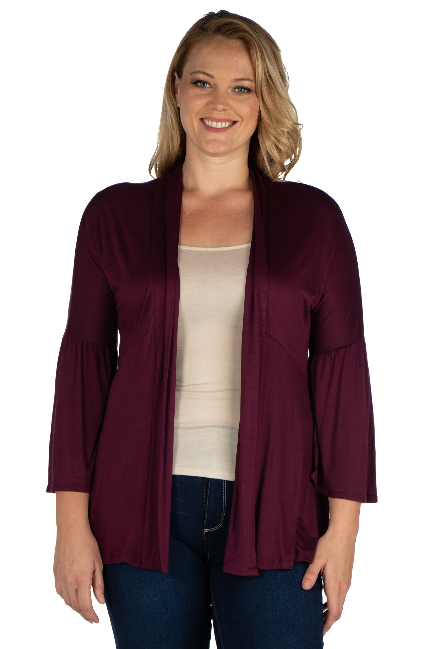 24seven Comfort Apparel Bell Sleeve Flared Open Front Plus Size Cardigan-SHRUGS-24Seven Comfort Apparel-BLACK-1X-24/7 Comfort Apparel