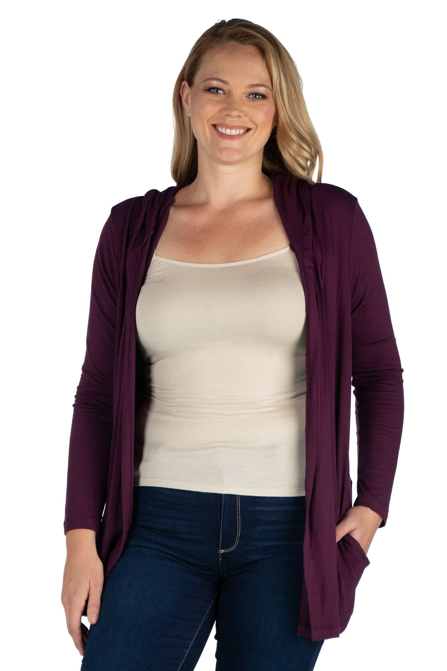 24seven Comfort Apparel Open Front Lightweight Hooded Plus Size Cardigan-SHRUGS-24Seven Comfort Apparel-BLACK-1X-24/7 Comfort Apparel