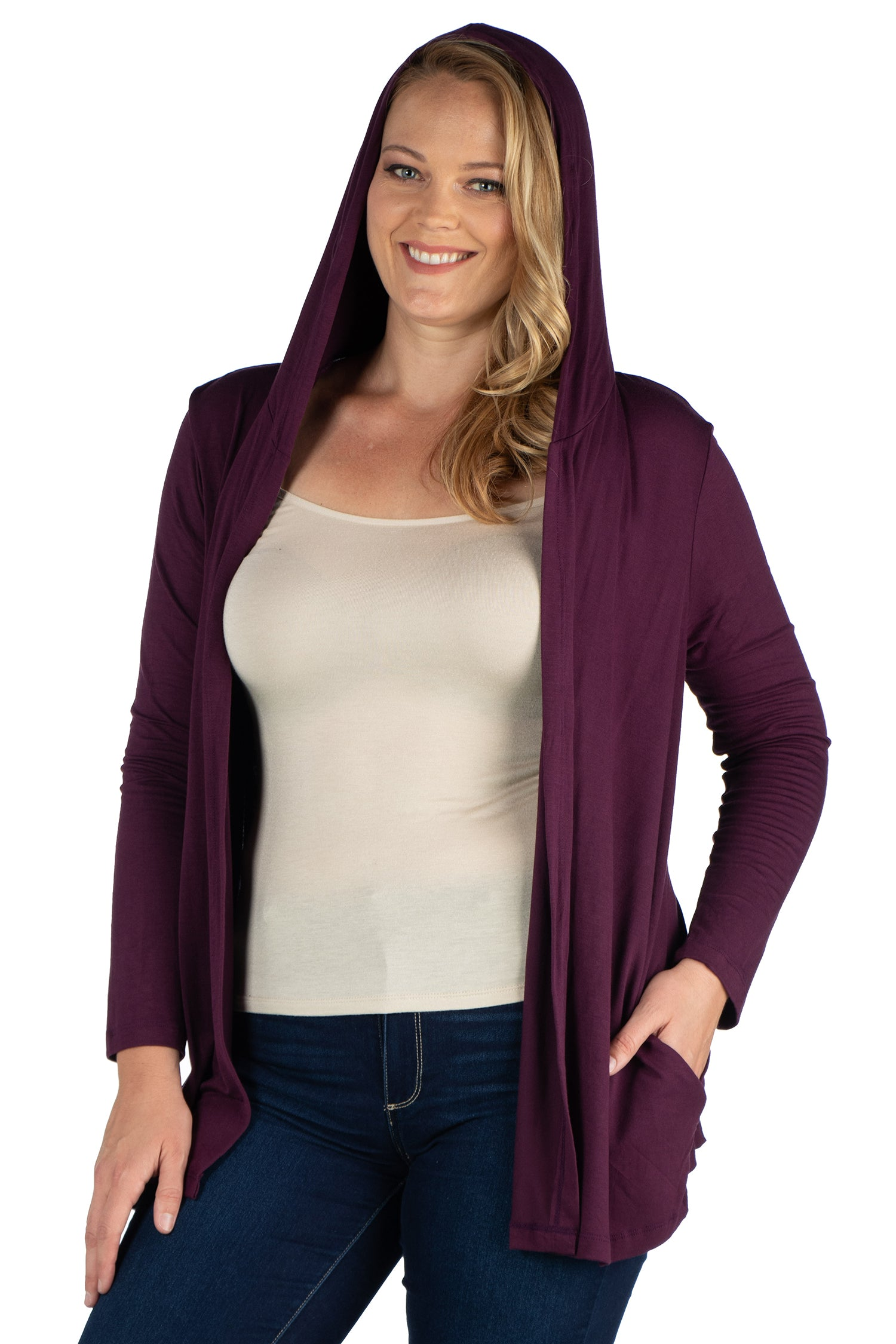 24seven Comfort Apparel Open Front Lightweight Hooded Plus Size Cardigan-SHRUGS-24Seven Comfort Apparel-PLUM-1X-24/7 Comfort Apparel