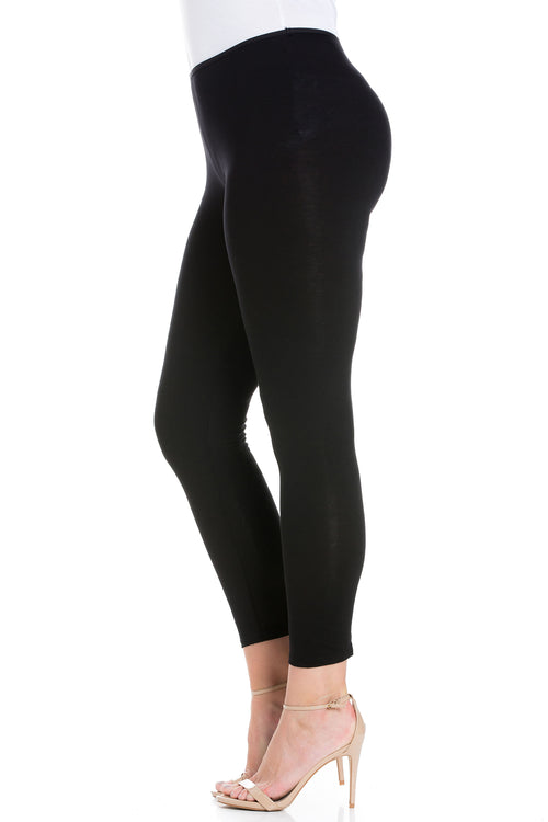 24seven Comfort Apparel Comfortable Ankle Length Plus Size Leggings-PANT-24Seven Comfort Apparel-BLACK-1X-24/7 Comfort Apparel