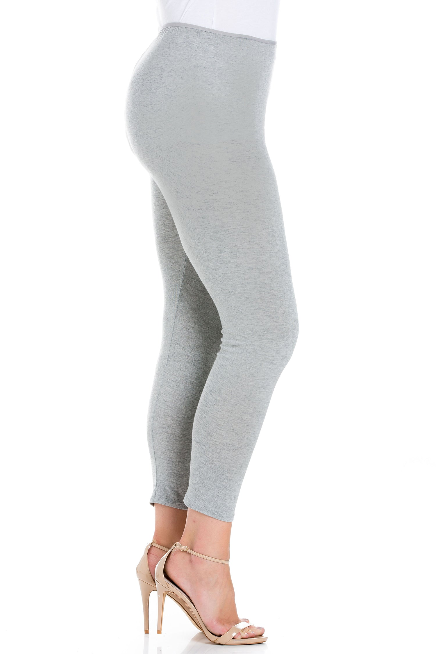 24seven Comfort Apparel Comfortable Ankle Length Plus Size Leggings-PANT-24Seven Comfort Apparel-HEATHER-1X-24/7 Comfort Apparel