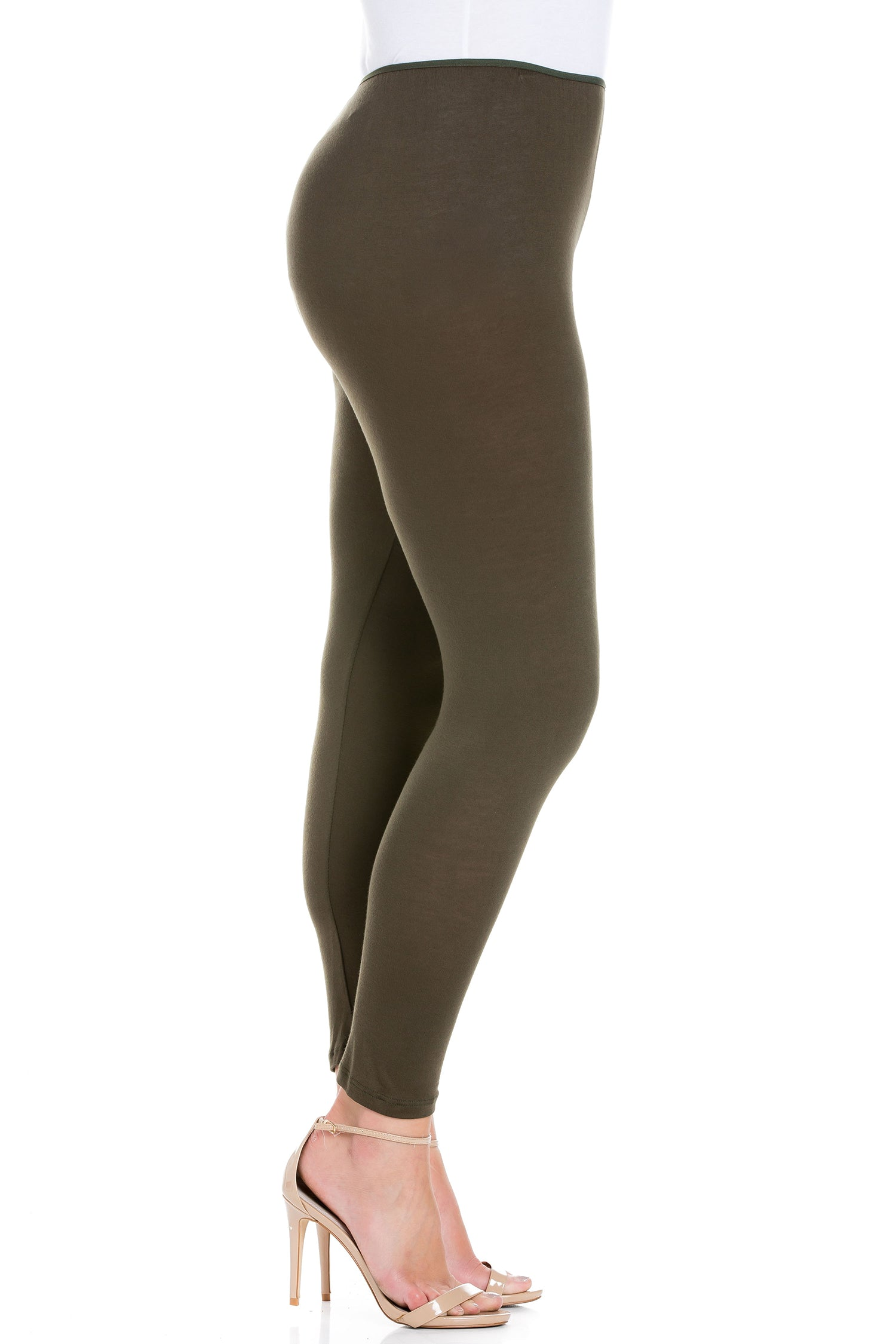 24seven Comfort Apparel Comfortable Ankle Length Plus Size Leggings-PANT-24Seven Comfort Apparel-OLIVE-1X-24/7 Comfort Apparel