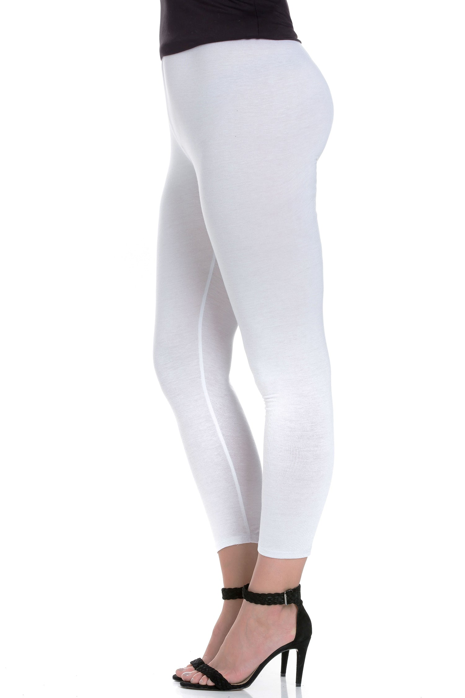 24seven Comfort Apparel Comfortable Ankle Length Plus Size Leggings-PANT-24Seven Comfort Apparel-WHITE-1X-24/7 Comfort Apparel