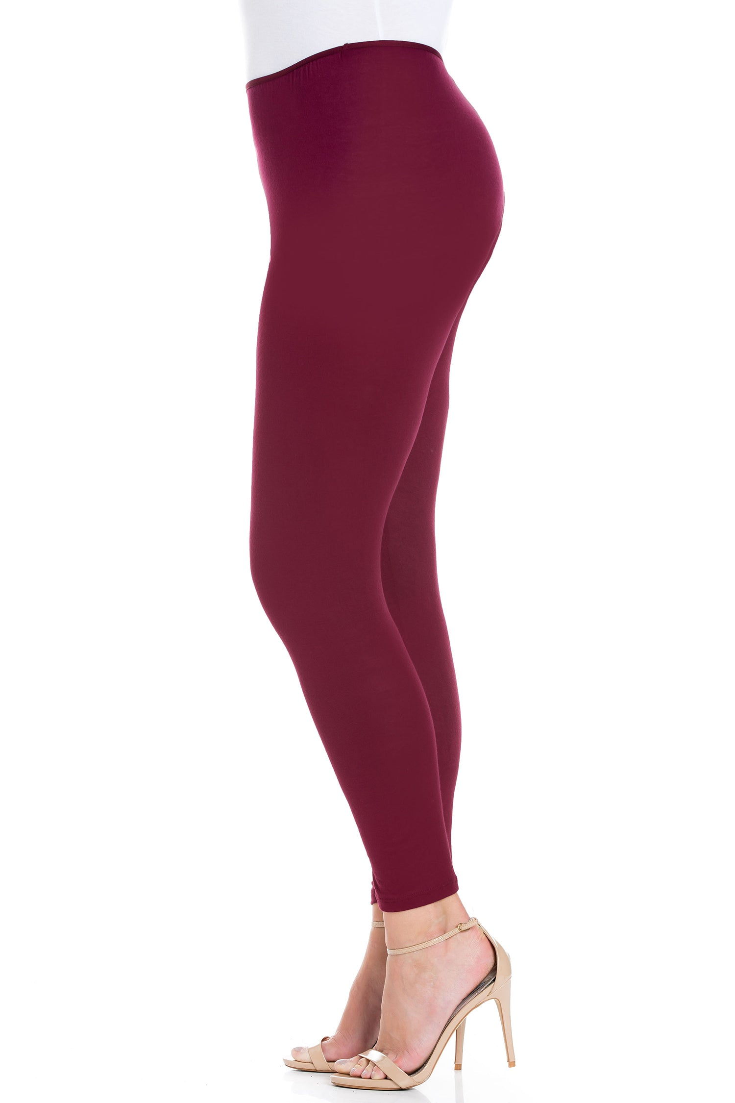 24seven Comfort Apparel Comfortable Ankle Length Plus Size Leggings-PANT-24Seven Comfort Apparel-WINE-1X-24/7 Comfort Apparel