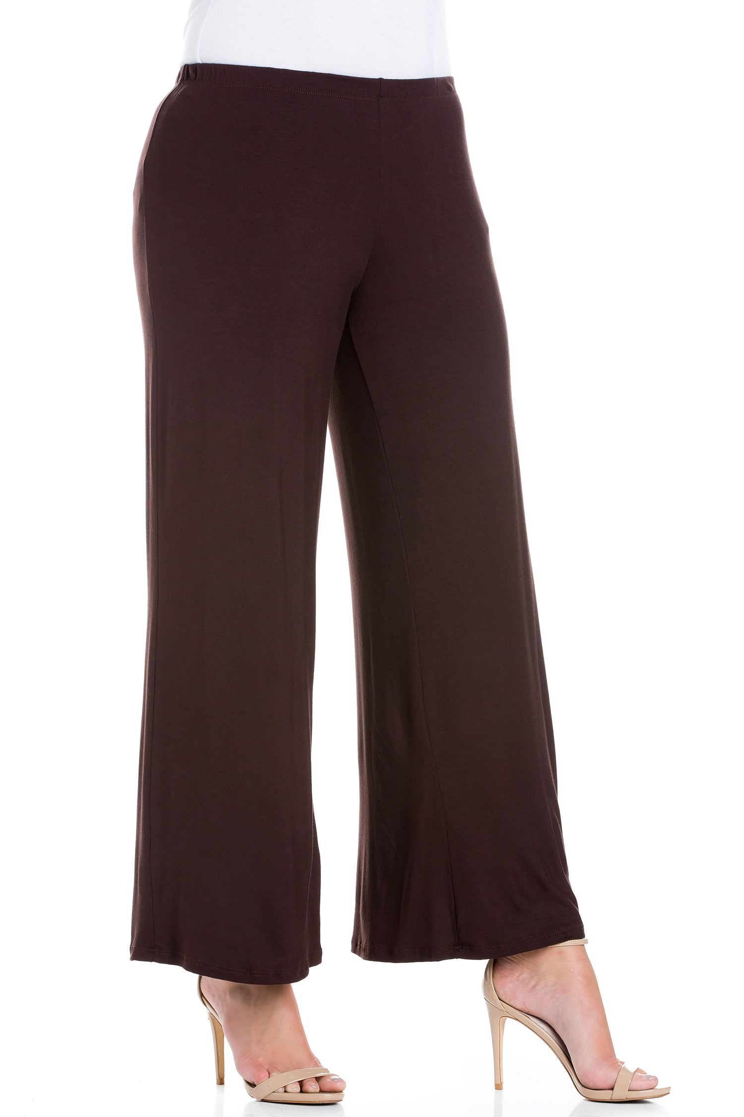 24seven Comfort Apparel Elastic Waist Flared Leg Plus Size Palazzo Pants-PANT-24Seven Comfort Apparel-BROWN-1X-24/7 Comfort Apparel
