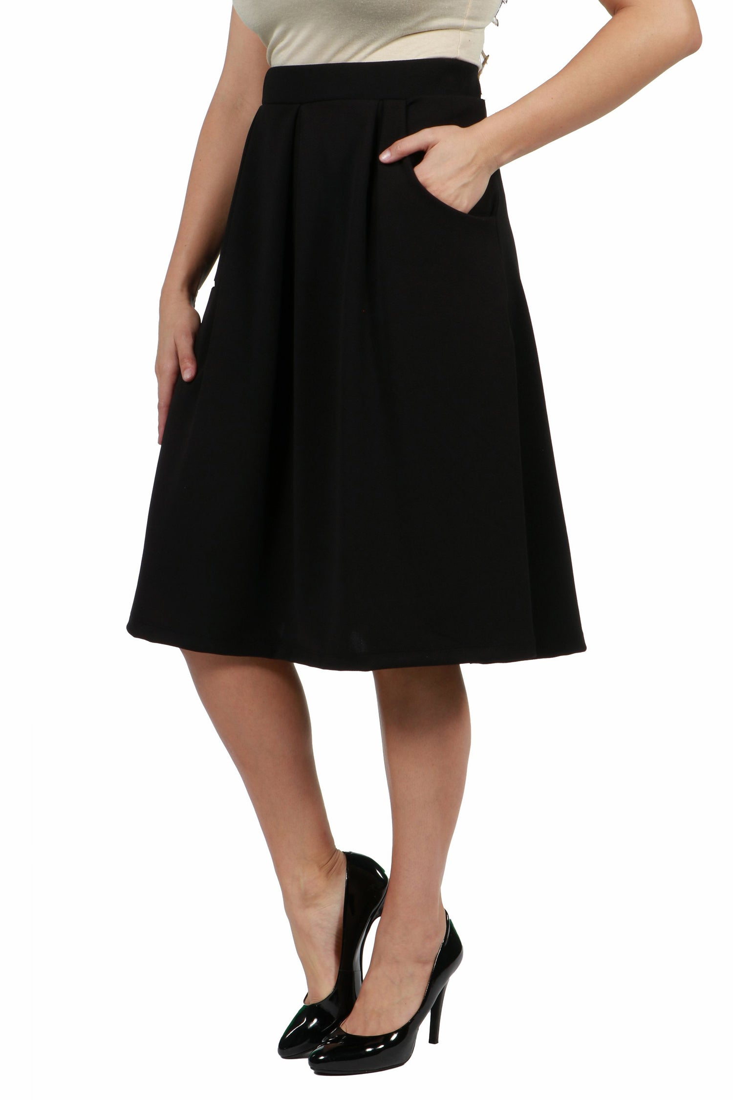 24seven Comfort Apparel Classic Plus Size Knee Length Black Skirt With Pockets-SKIRTS-24Seven Comfort Apparel-BLACK-1X-24/7 Comfort Apparel