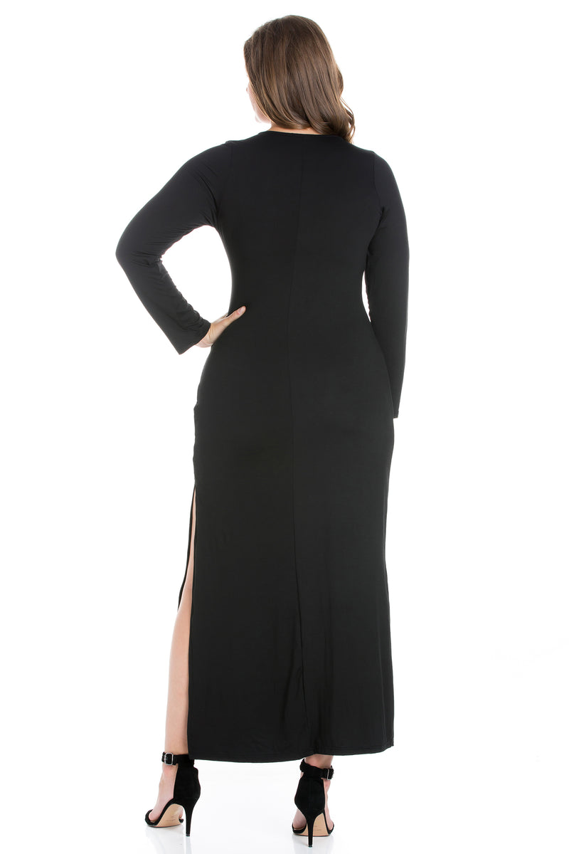 Long Sleeve Side Slit Fitted Plus Size Maxi Dress