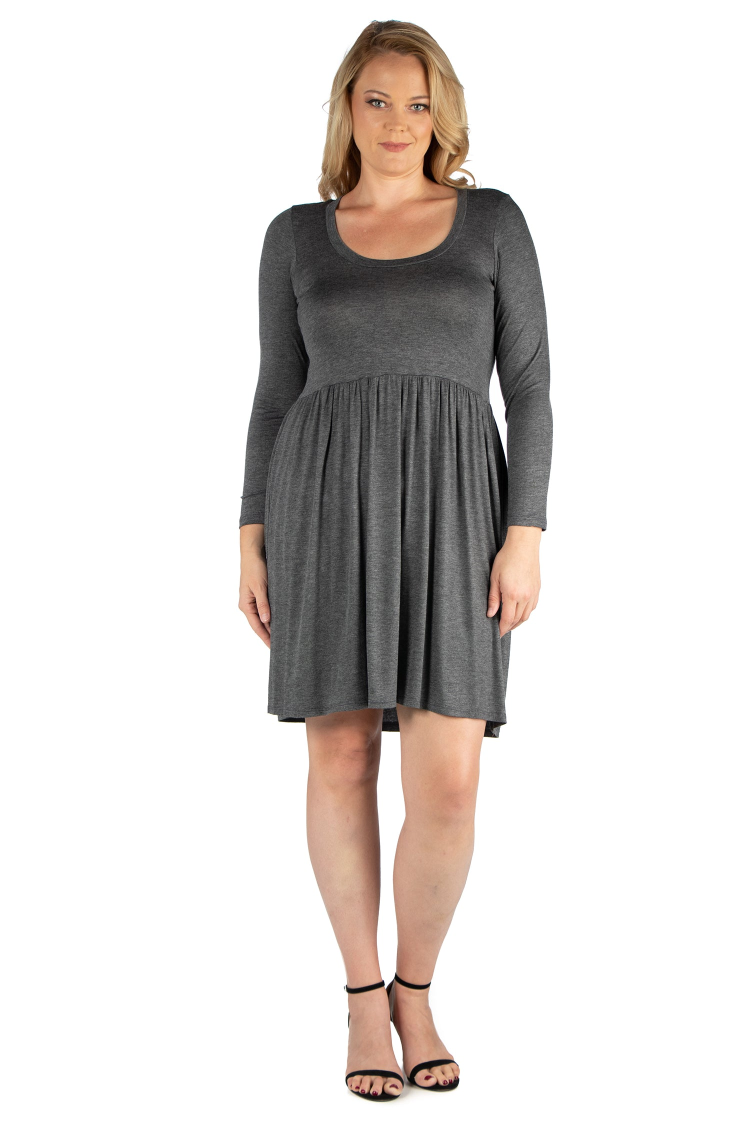 24seven Comfort Apparel Black Floral Print Long Sleeve Pleated Plus Size Dress-DRESSES-24Seven Comfort Apparel-GREY-1X-24/7 Comfort Apparel